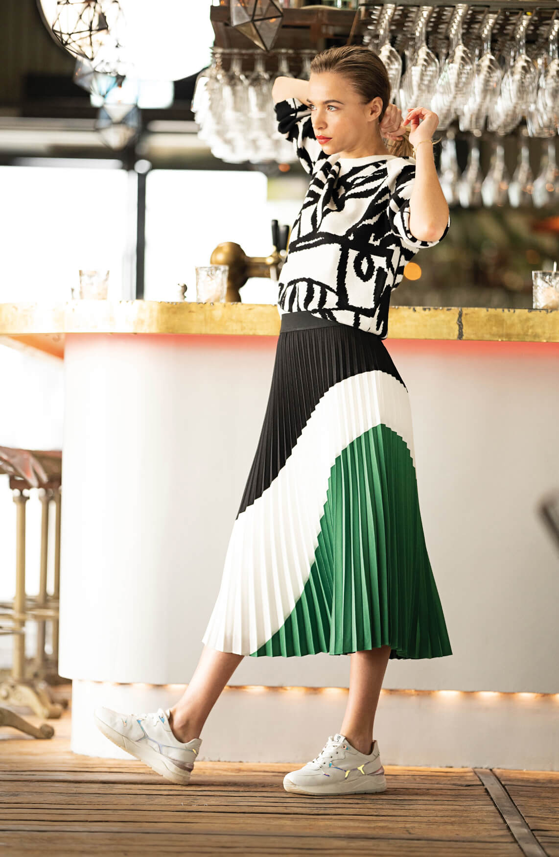 Anna Dames Pullover met grafische print zwart