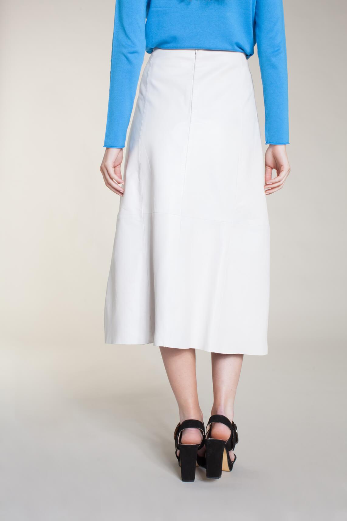 Anna Dames Lange leren rok wit