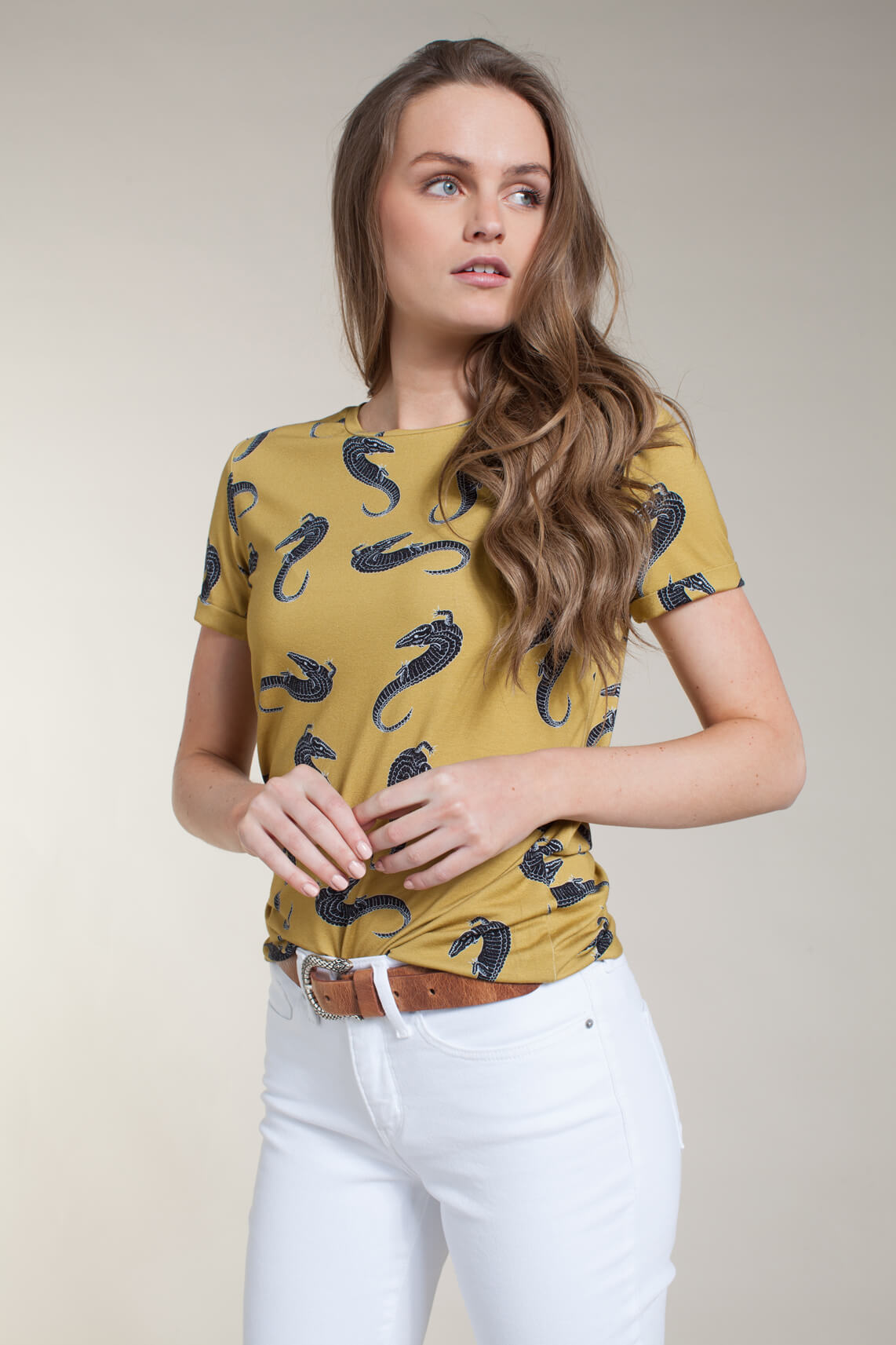 Anna Dames Shirt met croco print geel