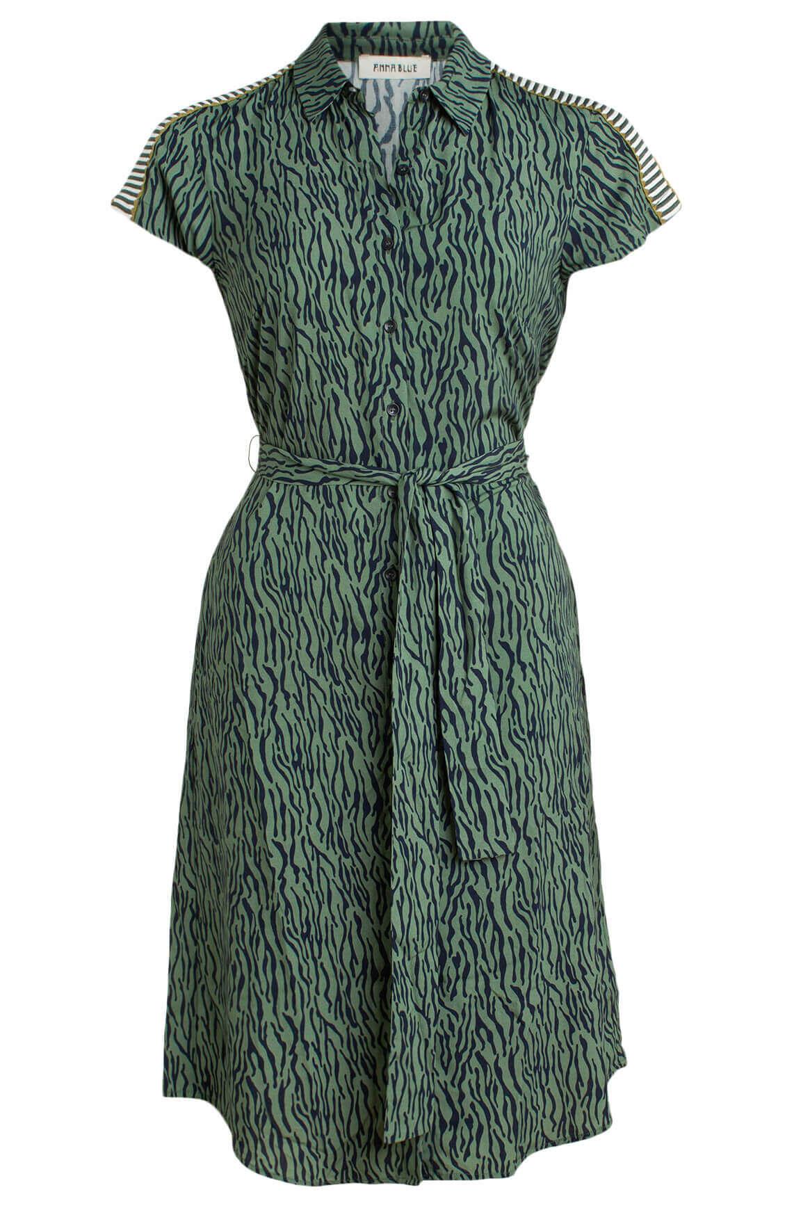 Anna Blue Dames Jurk met zebraprint groen