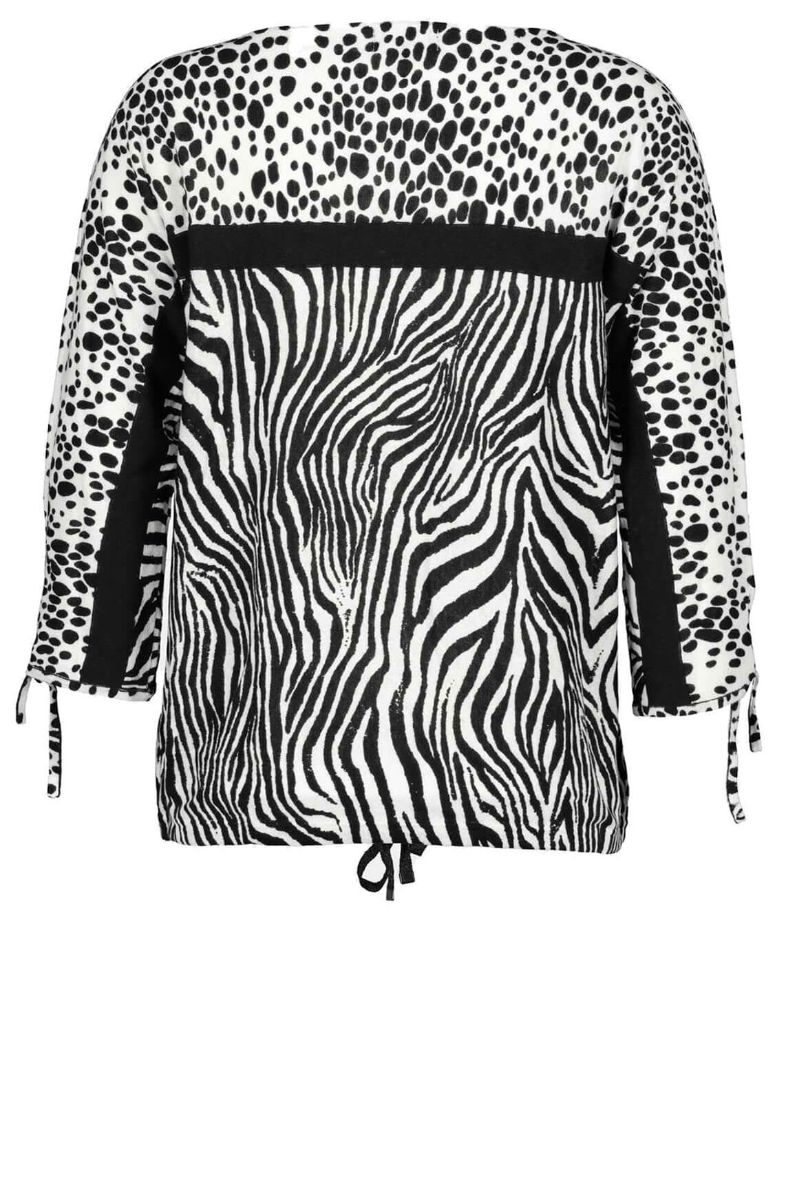 Monari Dames Pullover met animalprint zwart