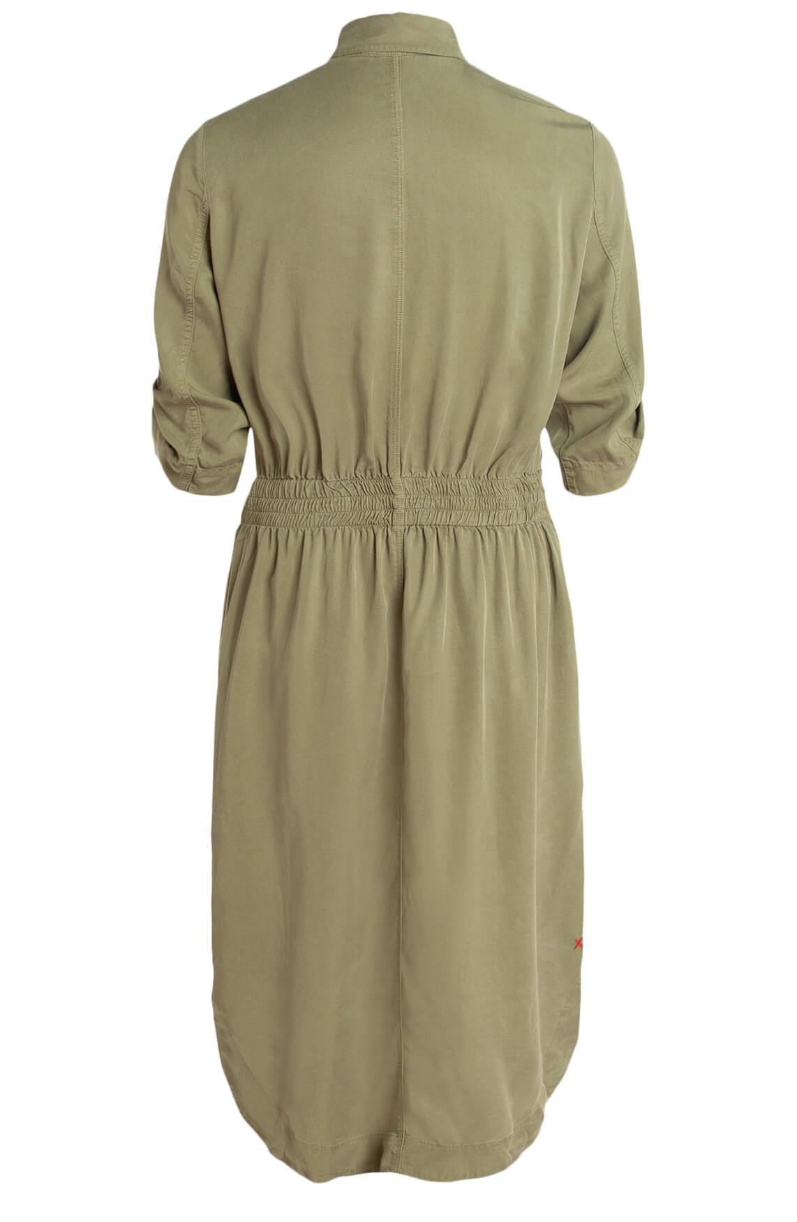 Anna Blue Dames Tencel jurk met ceintuur groen