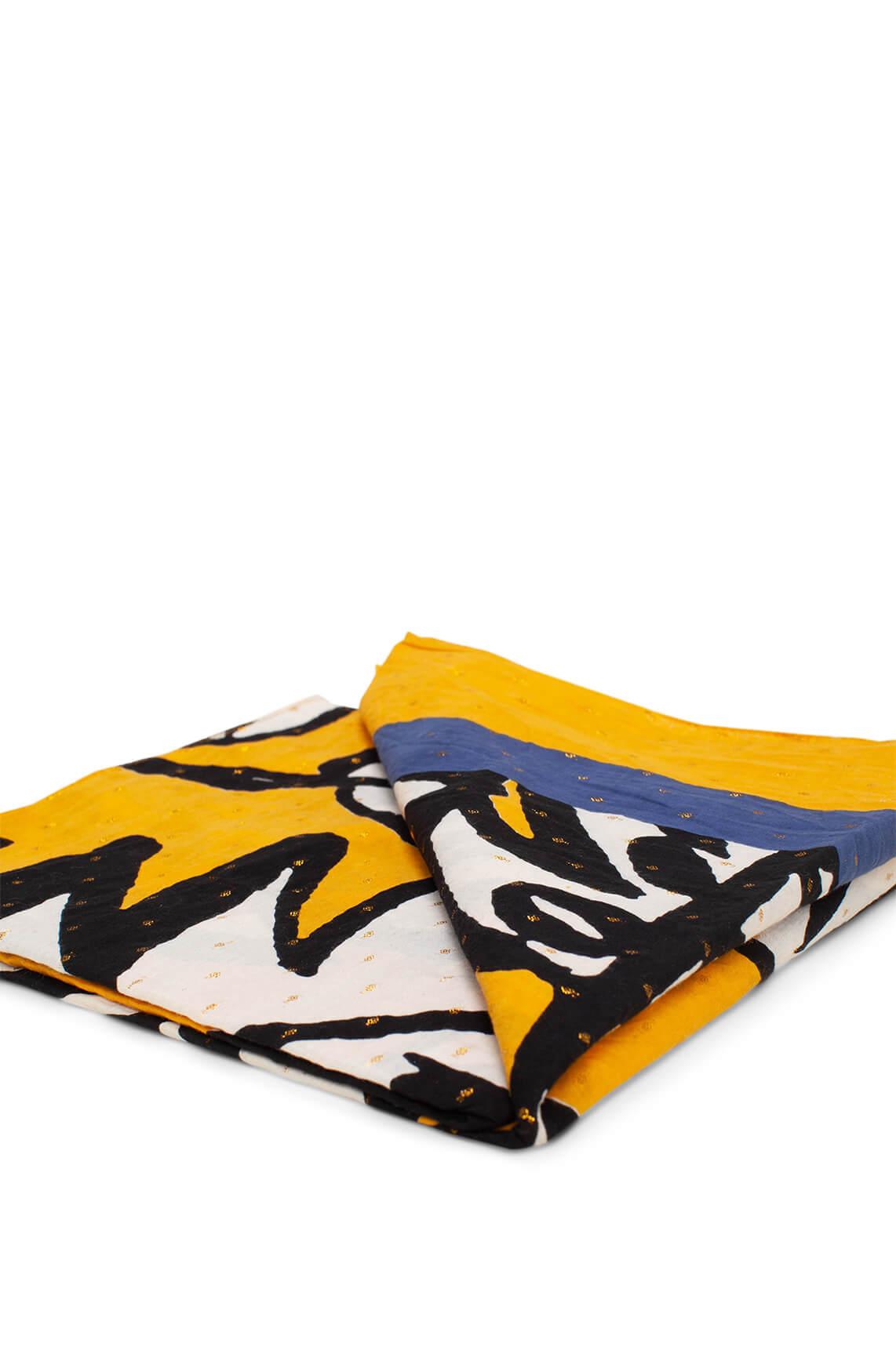 Anna Dames Shawl met palmprint geel