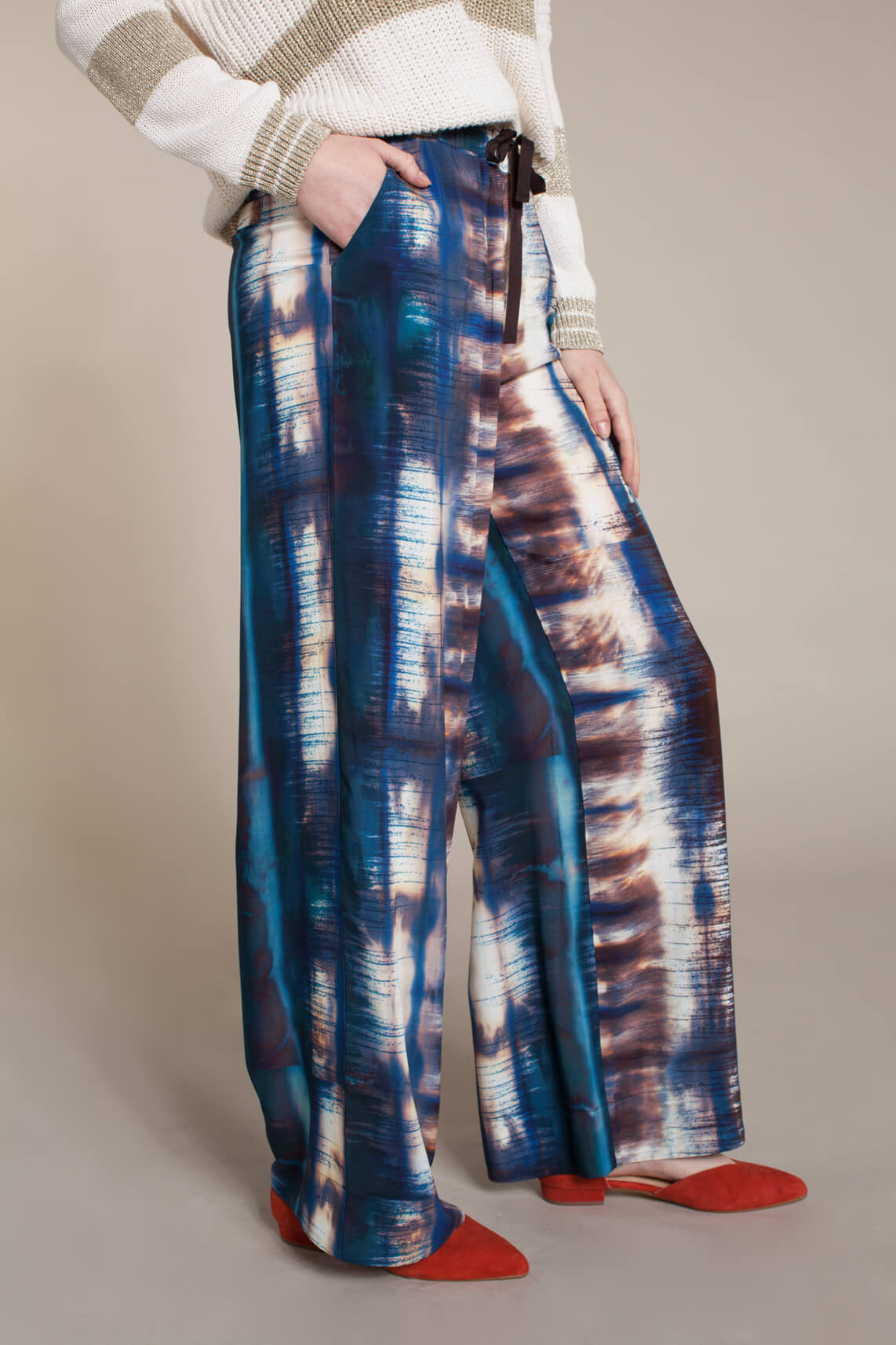 La Fée Maraboutée Dames Tie dye wijde broek Blauw