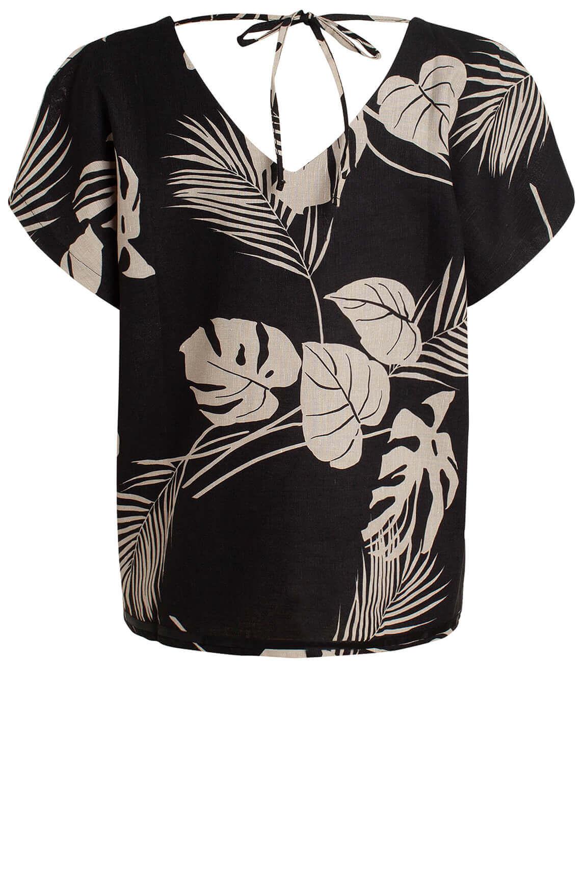 La Fée Maraboutée Dames Linnen blouse met bladprint zwart