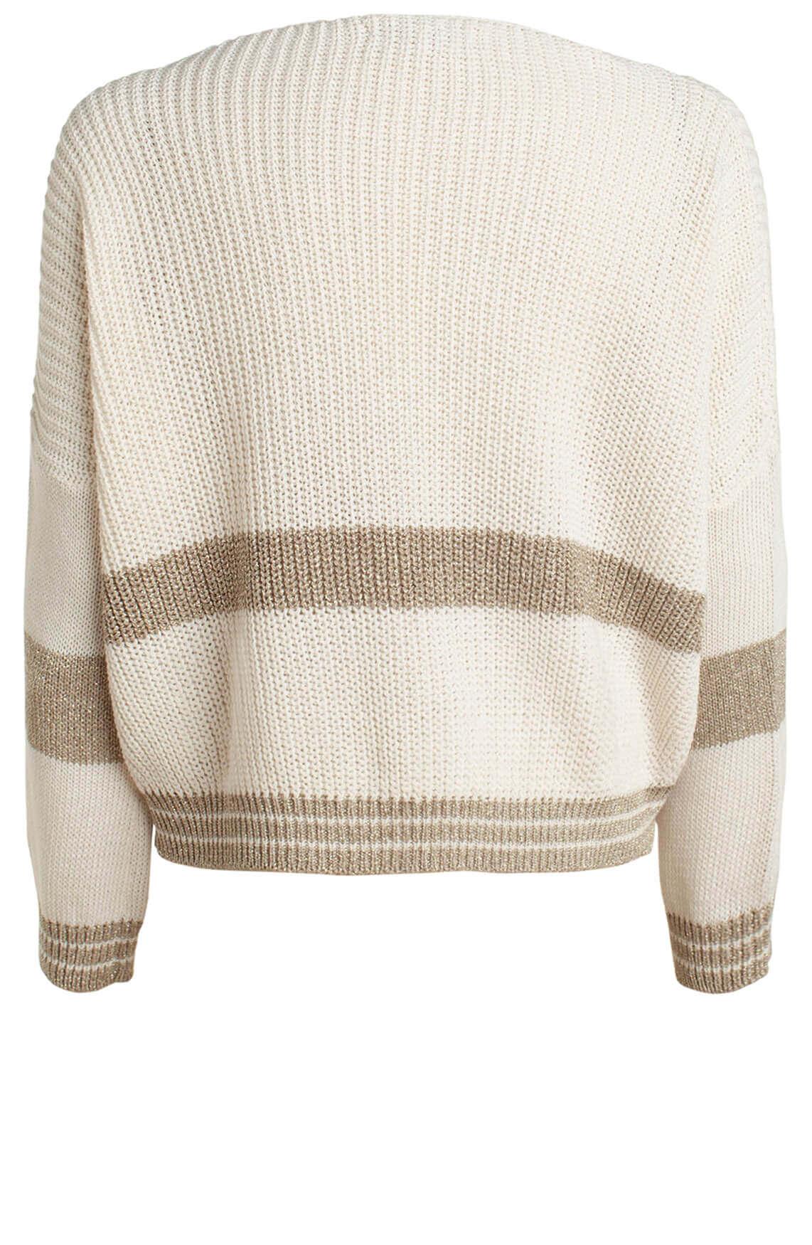 La Fée Maraboutée Dames Pullover met lurex streep wit