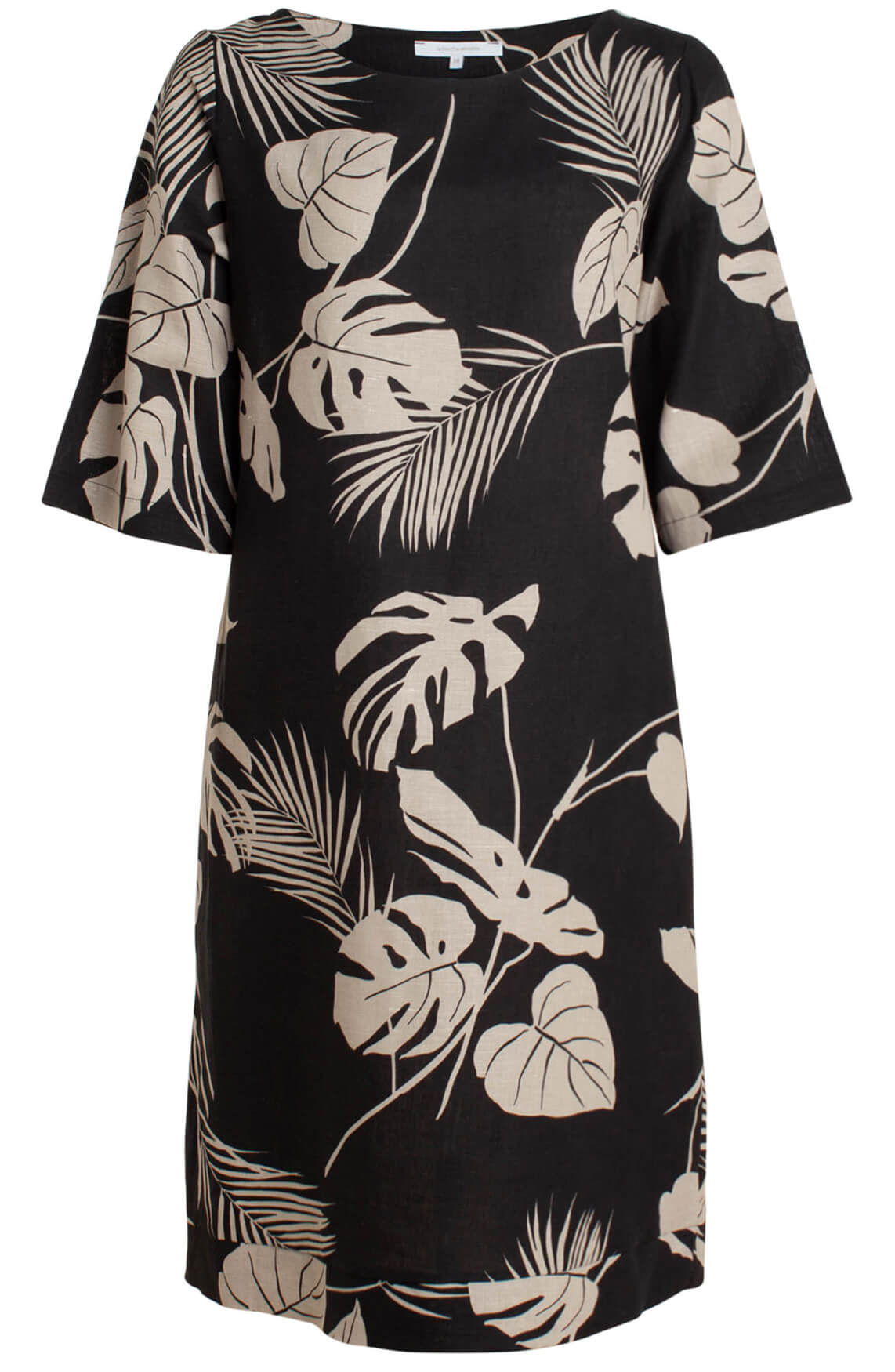 La Fée Maraboutée Dames Linnen jurk met bladprint zwart