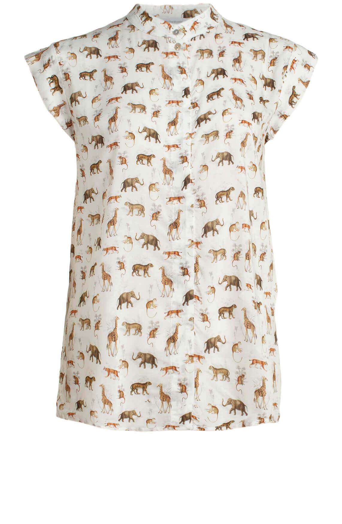 La Fée Maraboutée Dames Blouse met safari print wit