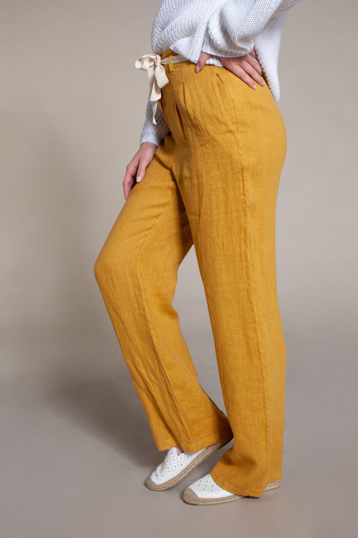 La Fée Maraboutée Dames Linnen broek geel