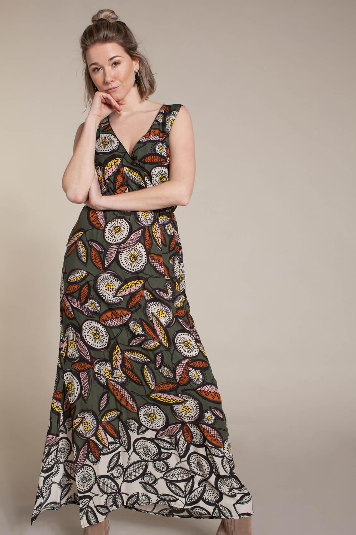 La Fée Maraboutée Dames Lange jurk met print groen