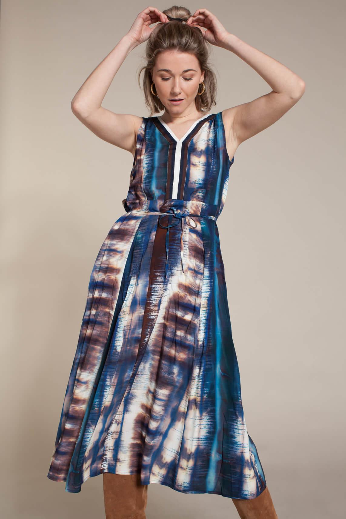 La Fée Maraboutée Dames Tie dye lange jurk Blauw