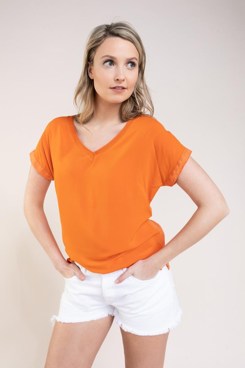 Anna Dames Materiaalmix shirt Oranje