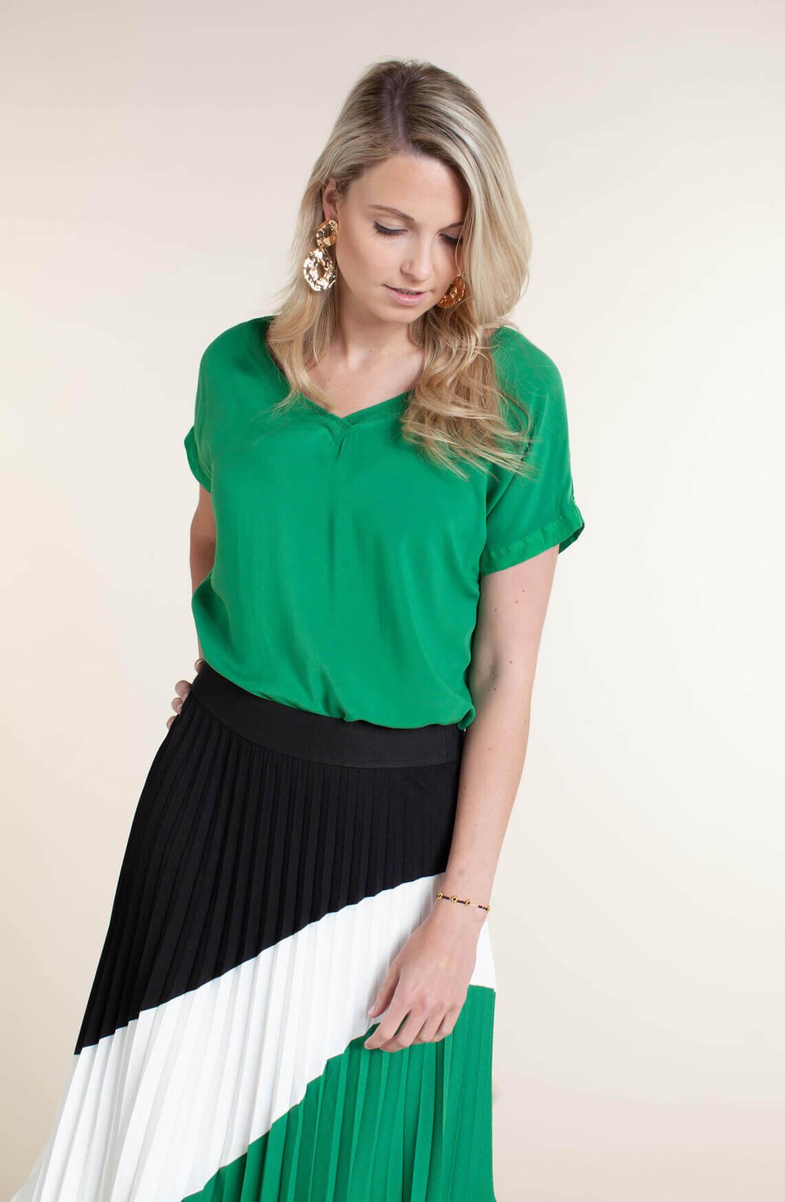 Anna Dames Blouse met linnen groen