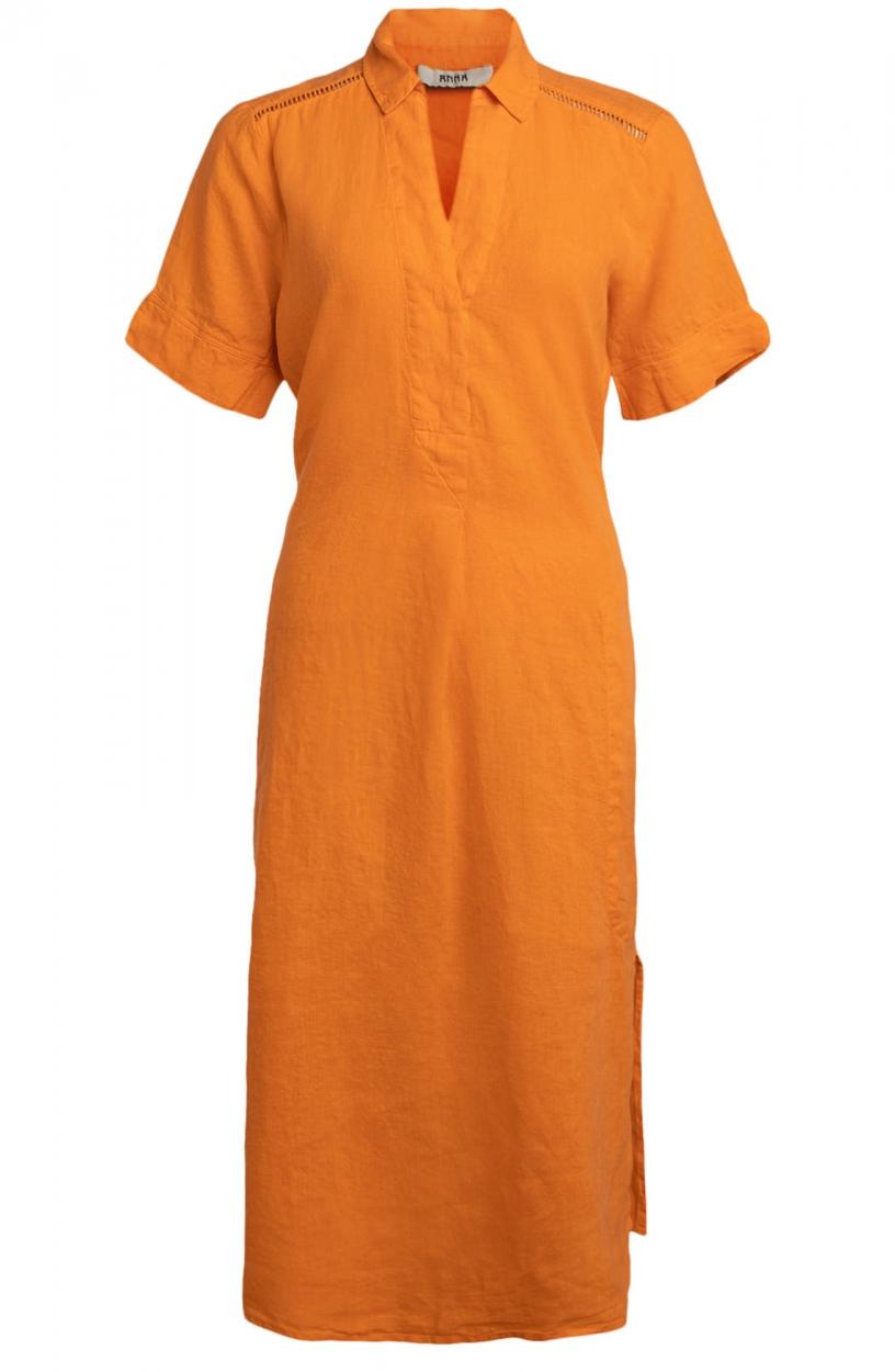 Anna Dames Linnen jurk Oranje