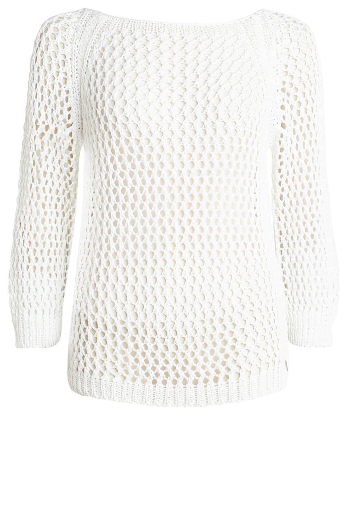 Anna Dames Opengebreide pullover wit