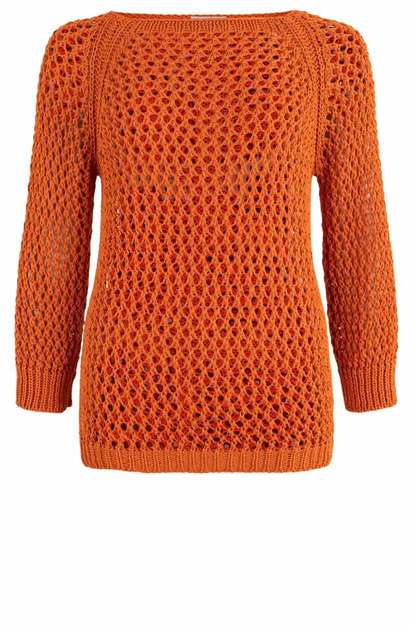 Anna Dames Opengebreide trui Oranje