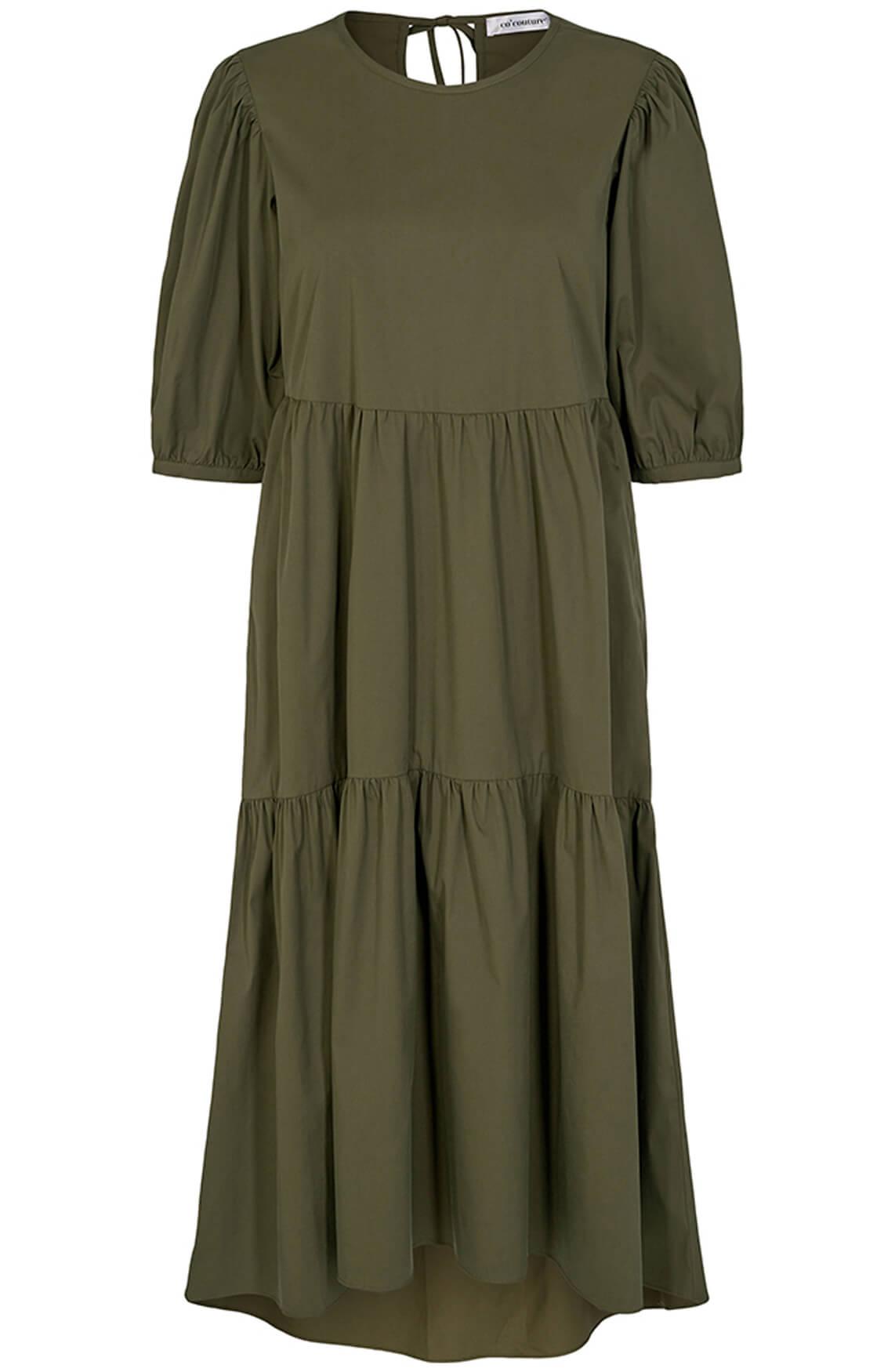 Co Couture Dames Cecilie poplin jurk groen