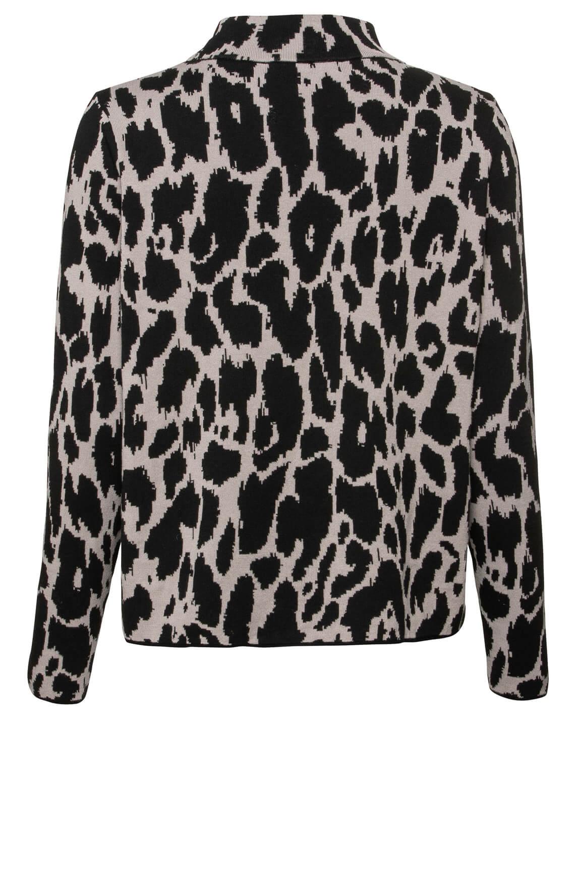 Monari Dames Pullover met panterprint zwart