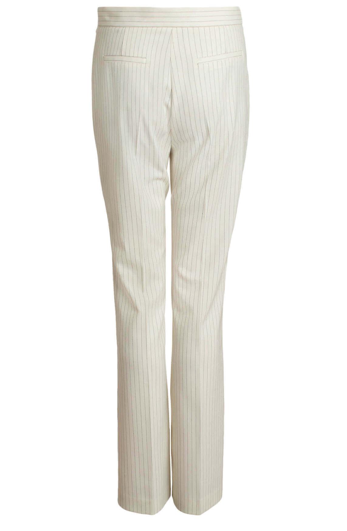 Anna Dames Pantalon met fijne krijtstreep wit
