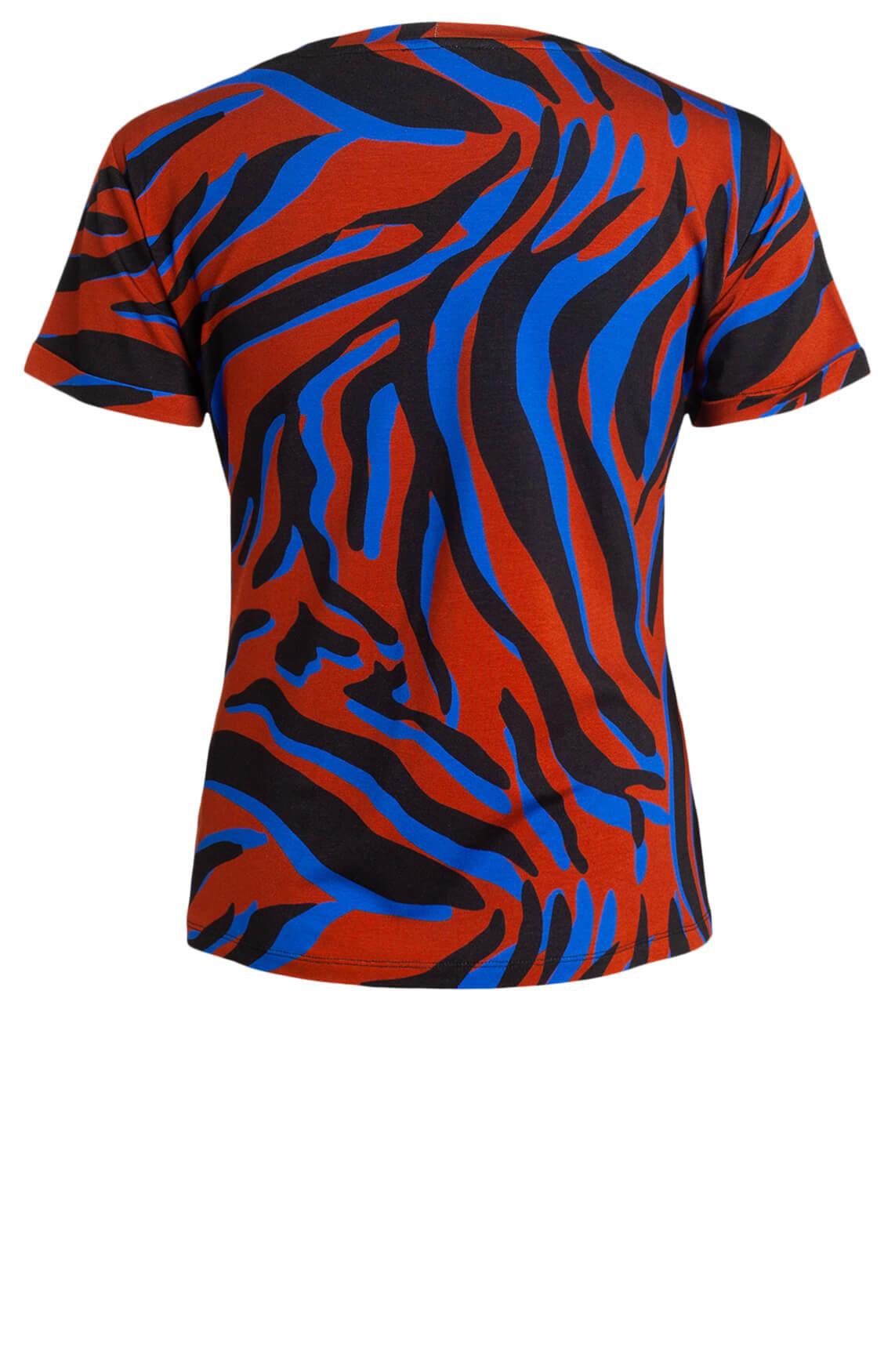 Anna Dames Shirt met animalprint Blauw