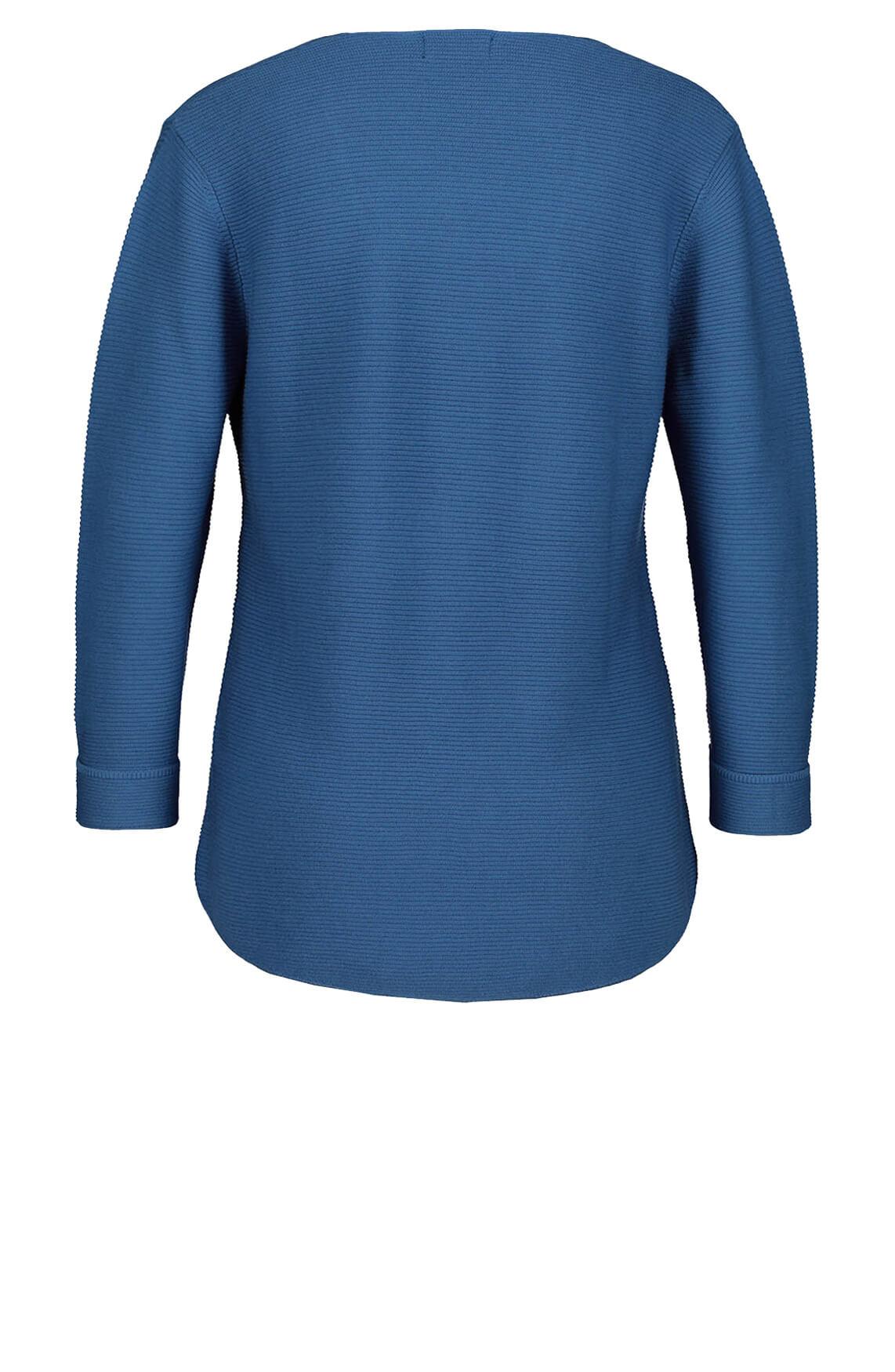 Monari Dames Ribgebreide pullover Blauw