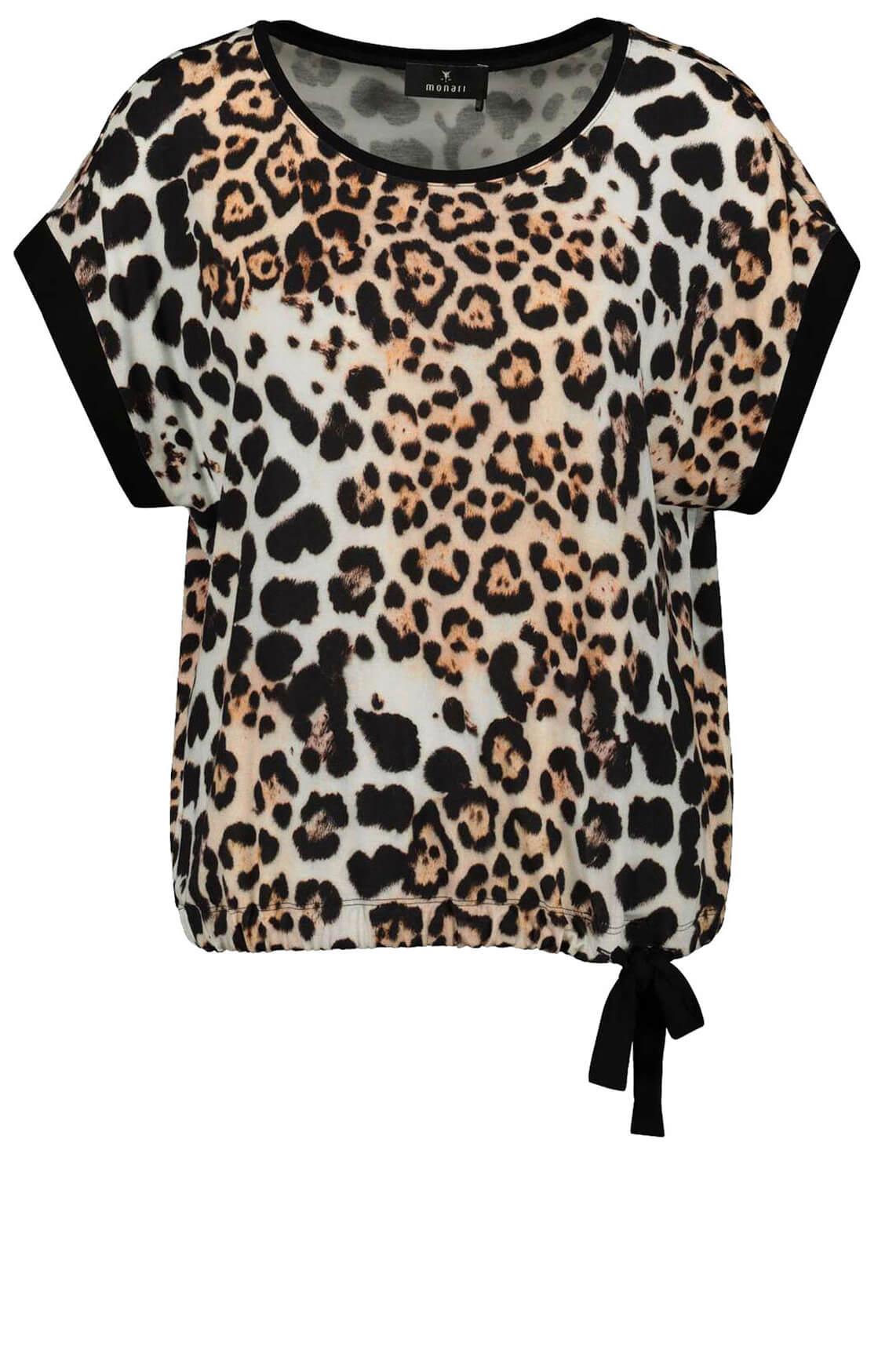 Monari Dames Shirt met panterprint zwart