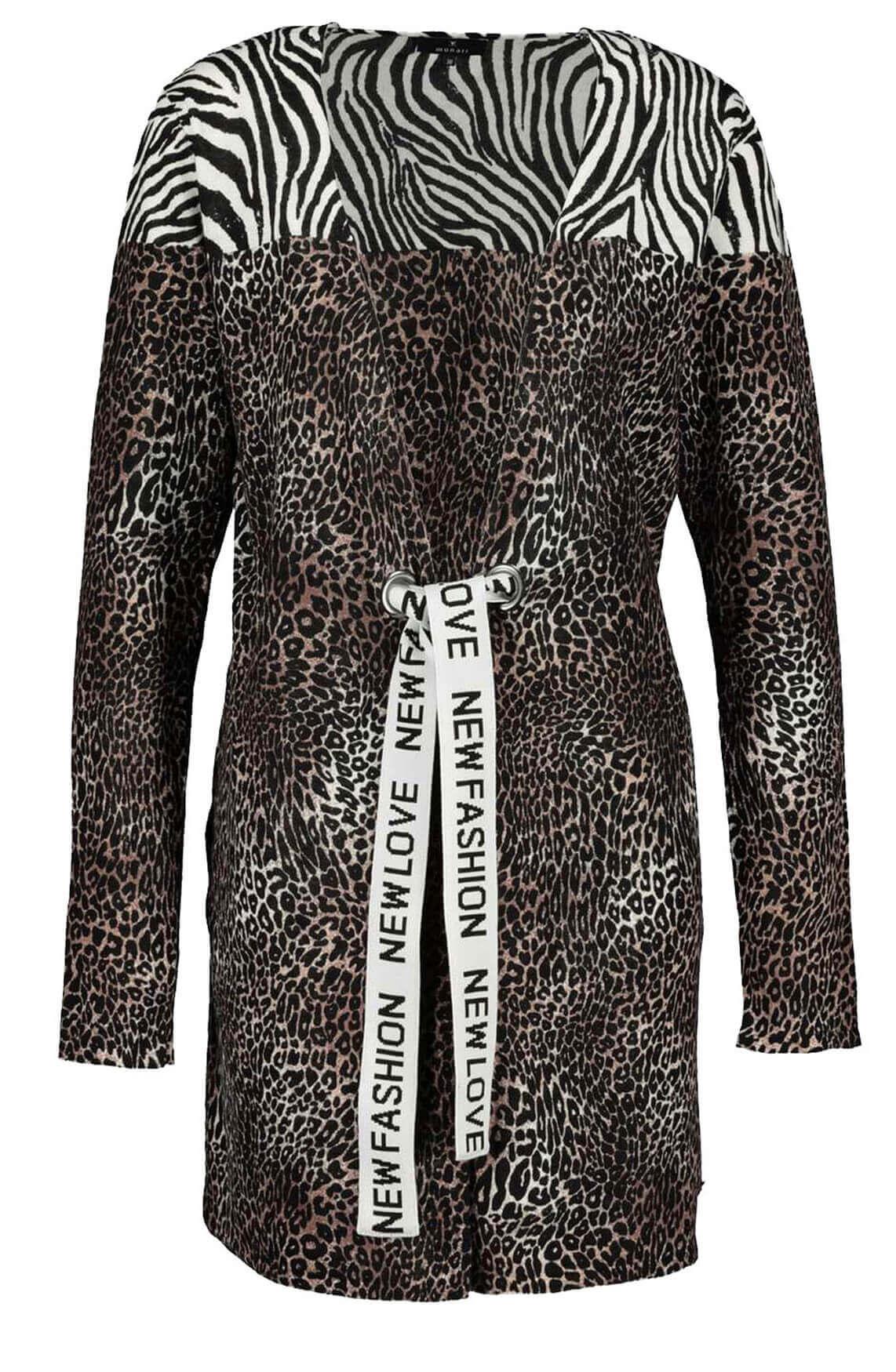 Monari Dames Vest met animalprint Bruin