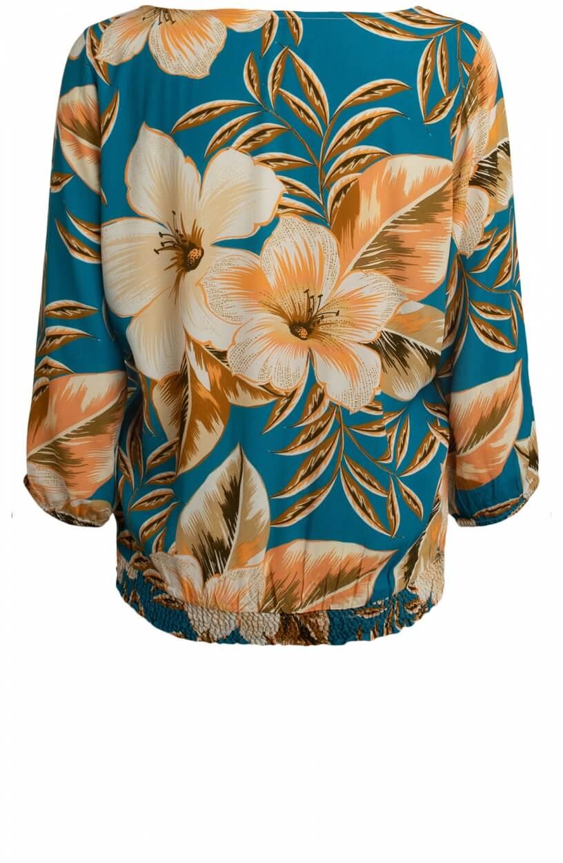 Anna Dames Bloemen blouse Blauw