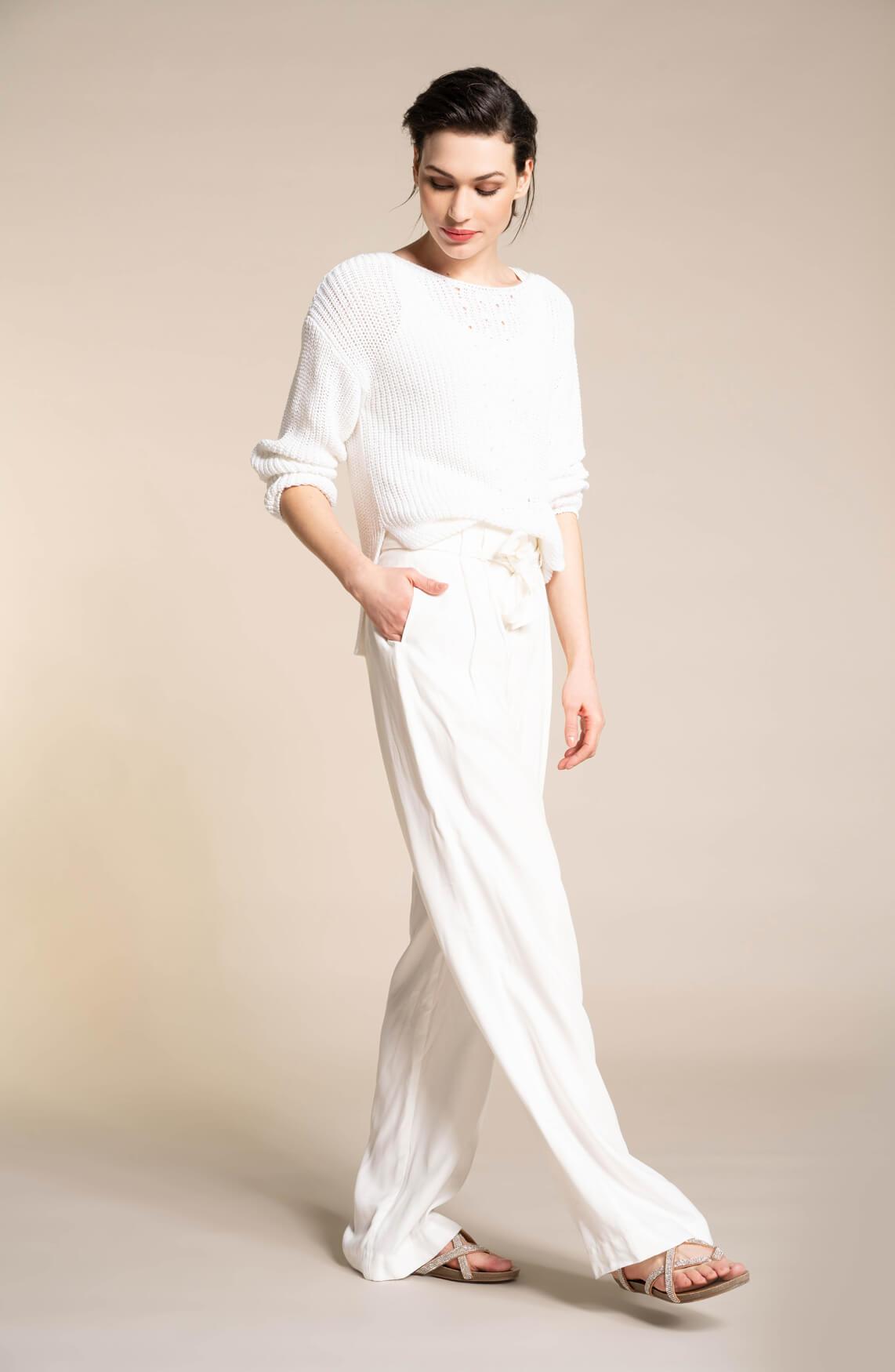 Anna Dames Wijde pantalon wit