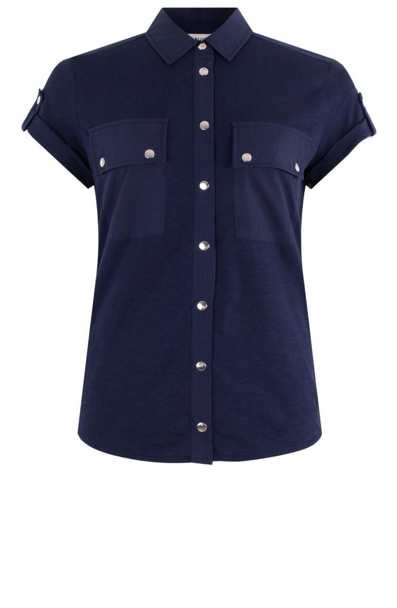 Anna Blue Dames Katoenen blouse Blauw