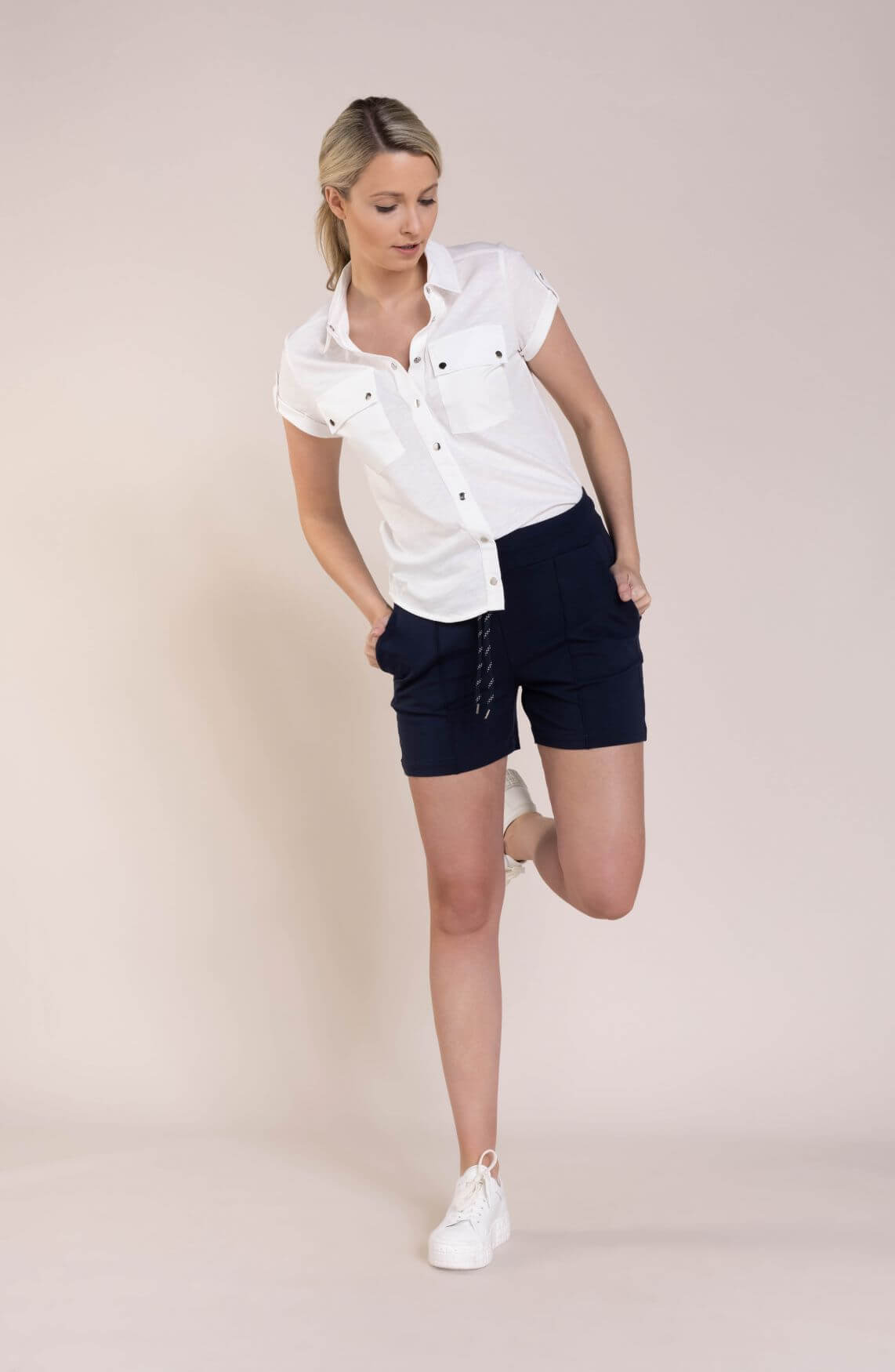Anna Blue Dames Katoenen blouse Wit