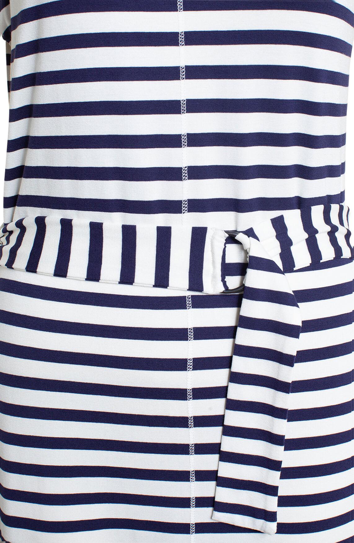 Anna Blue Dames Gestreepte jurk wit