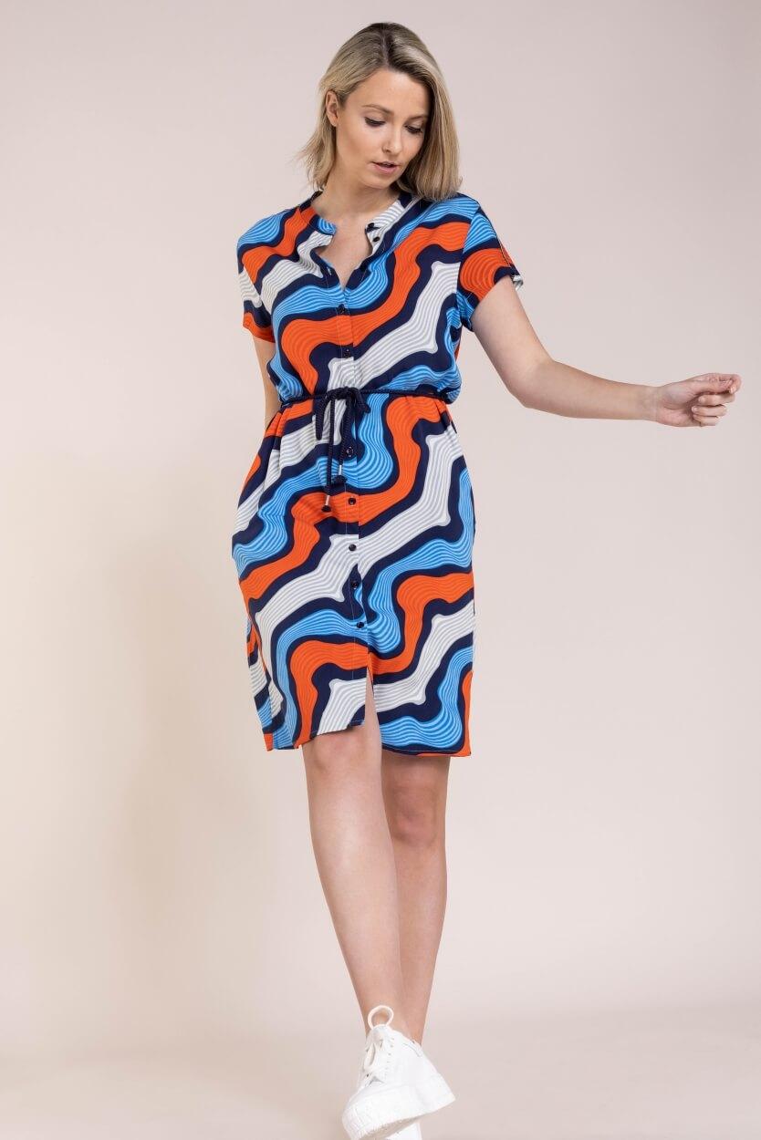 Anna Blue Dames Jurk met dessin Oranje