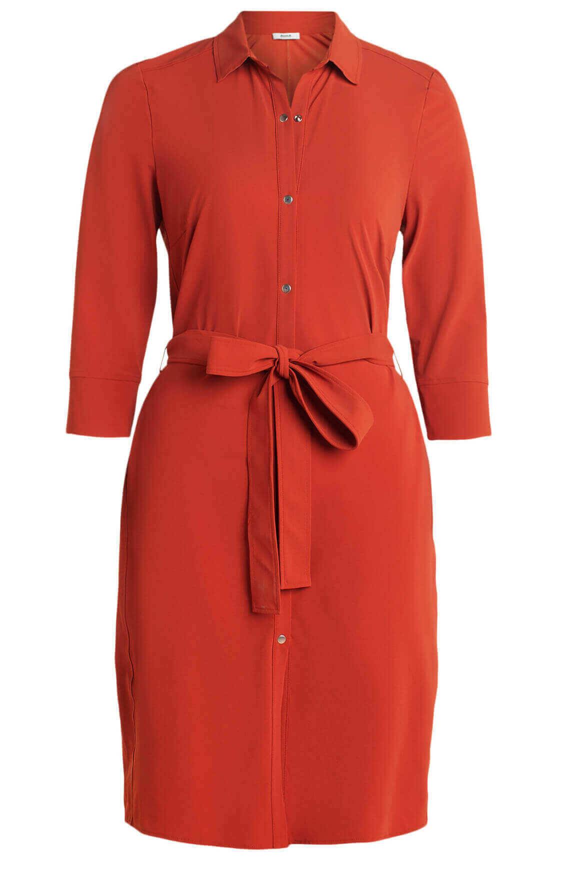 Anna Dames Eurojersey jurk met ceintuur Rood