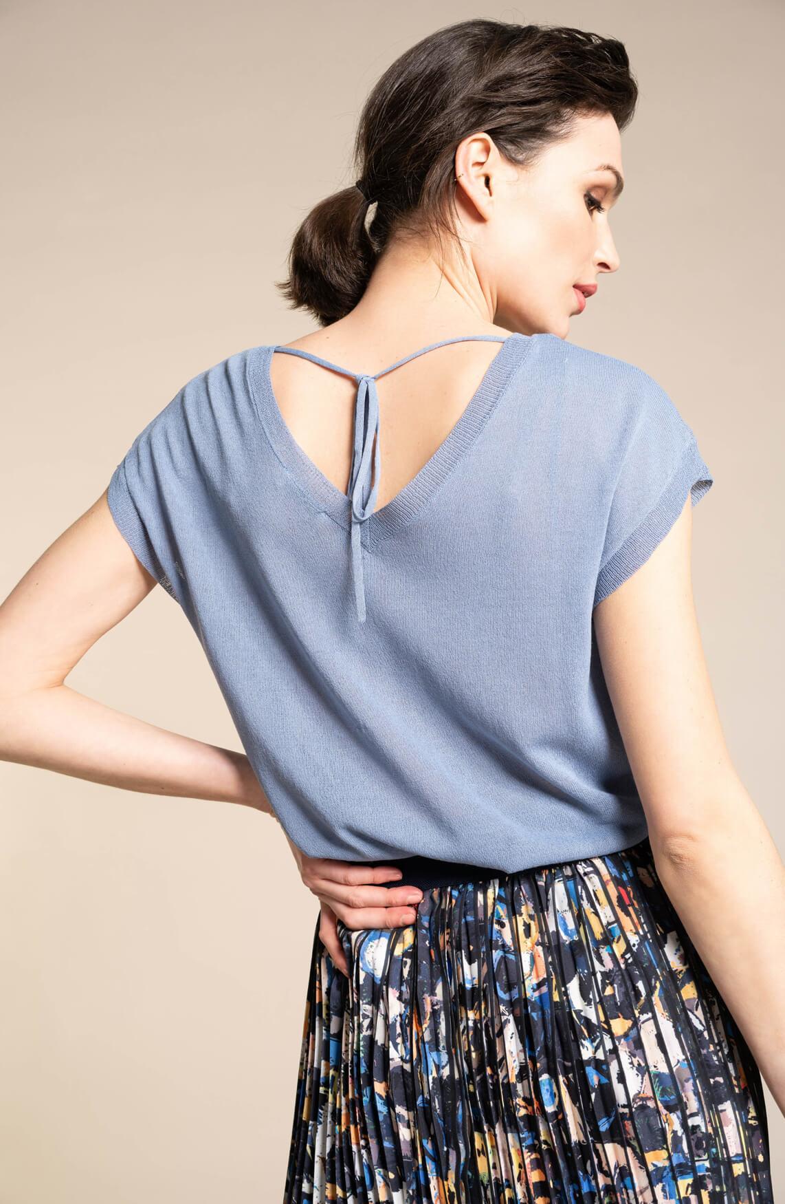 Anna Dames Shirt met strikdetail Blauw
