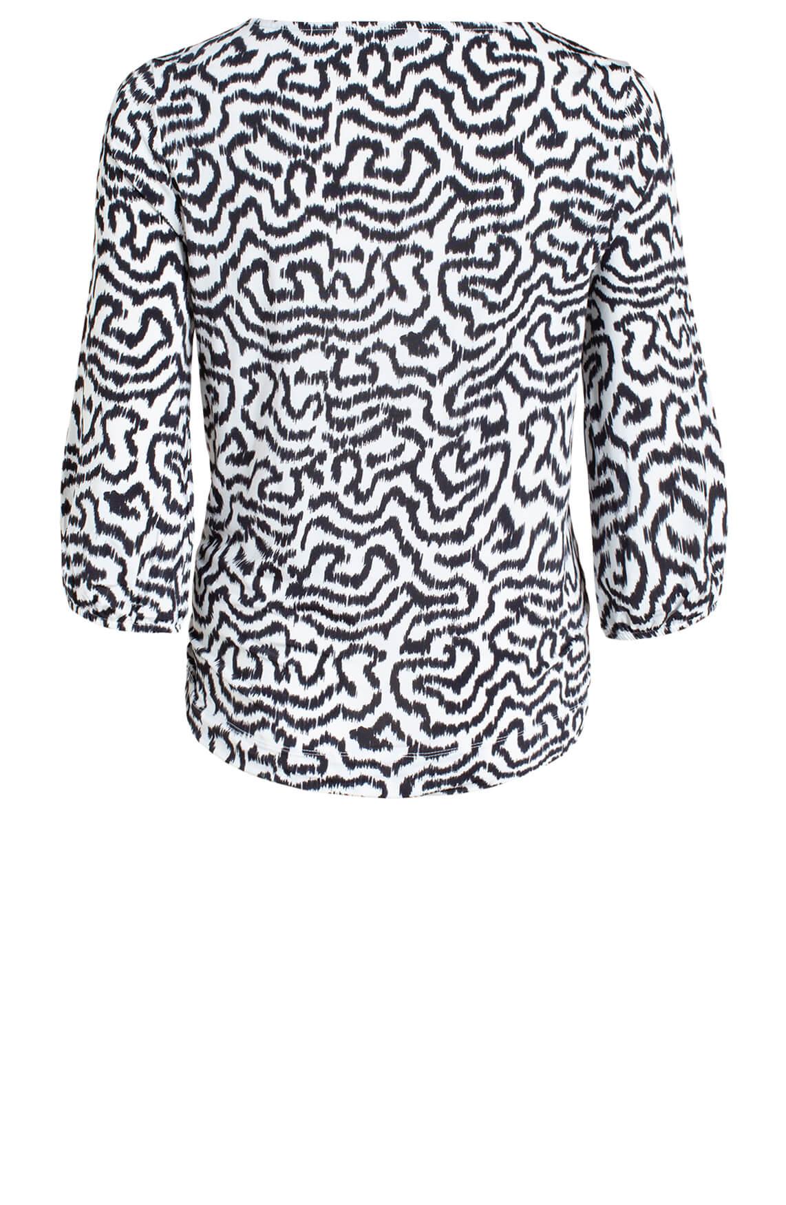 Anna Dames Shirt met wave print wit