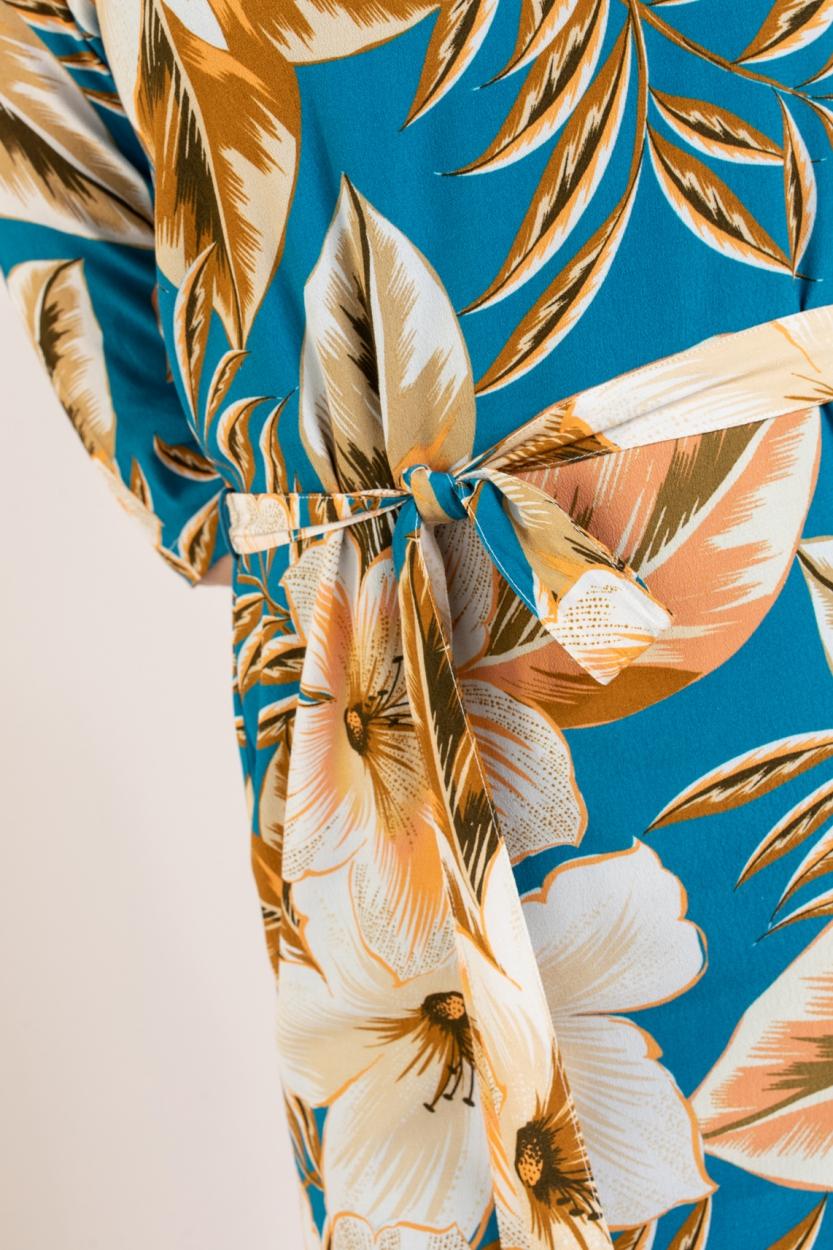 Anna Dames Jurk met bloemen Blauw