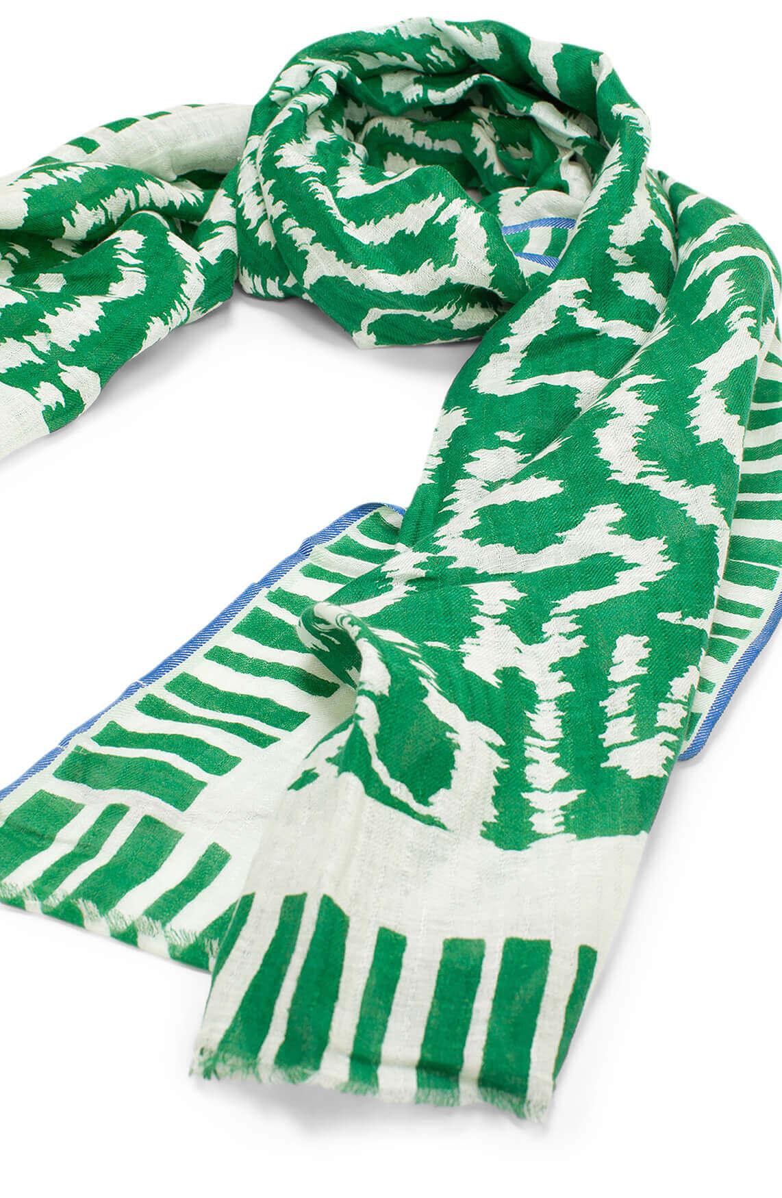 Anna Dames Shawl met wave print groen