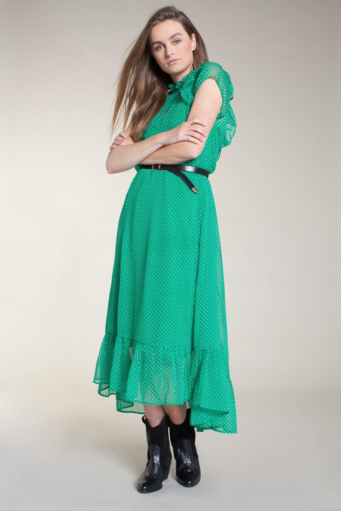 Lollys Laundry Dames Ricca gestippelde jurk groen