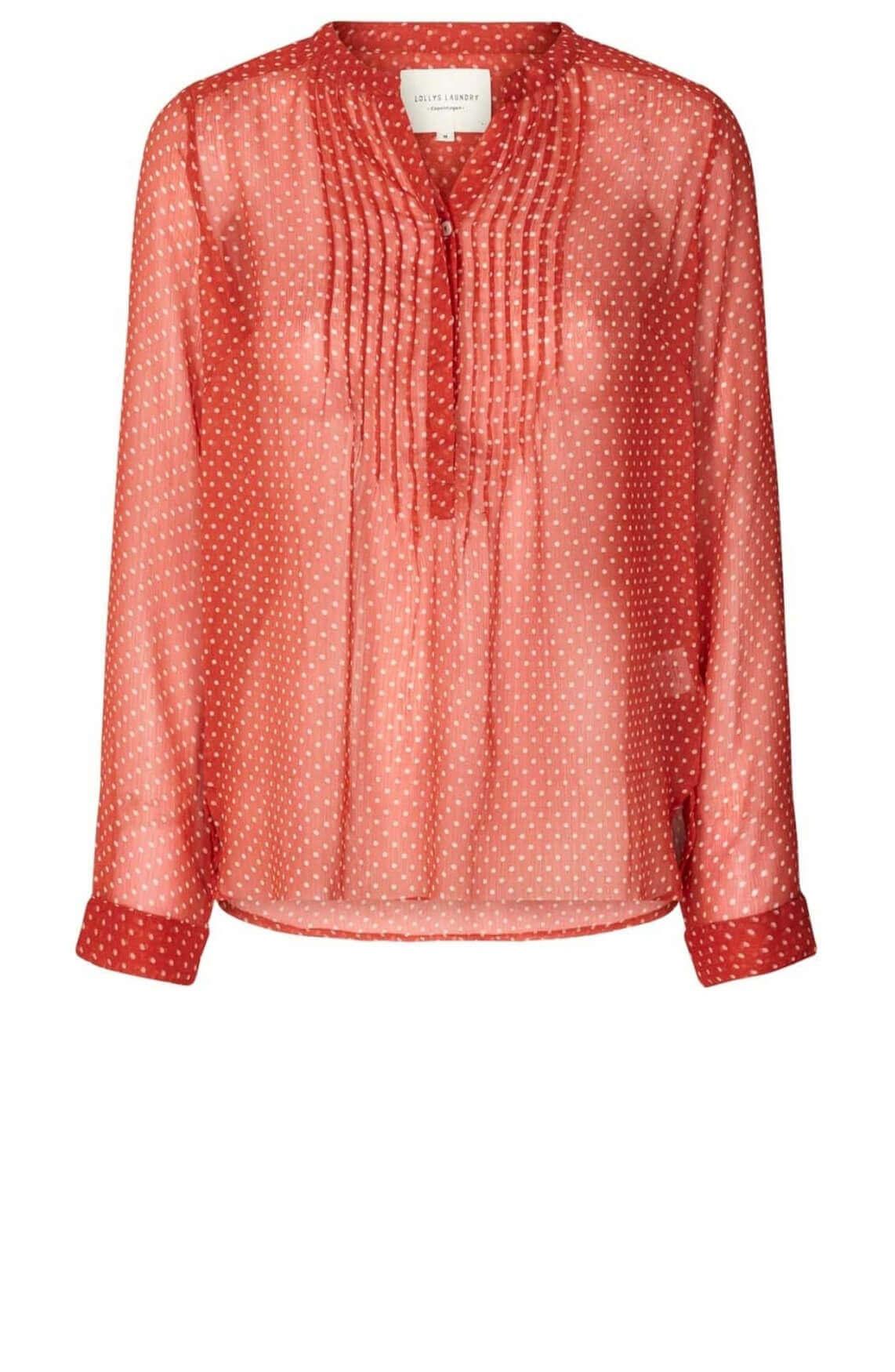 Lollys Laundry Dames Helena gestippelde blouse Rood
