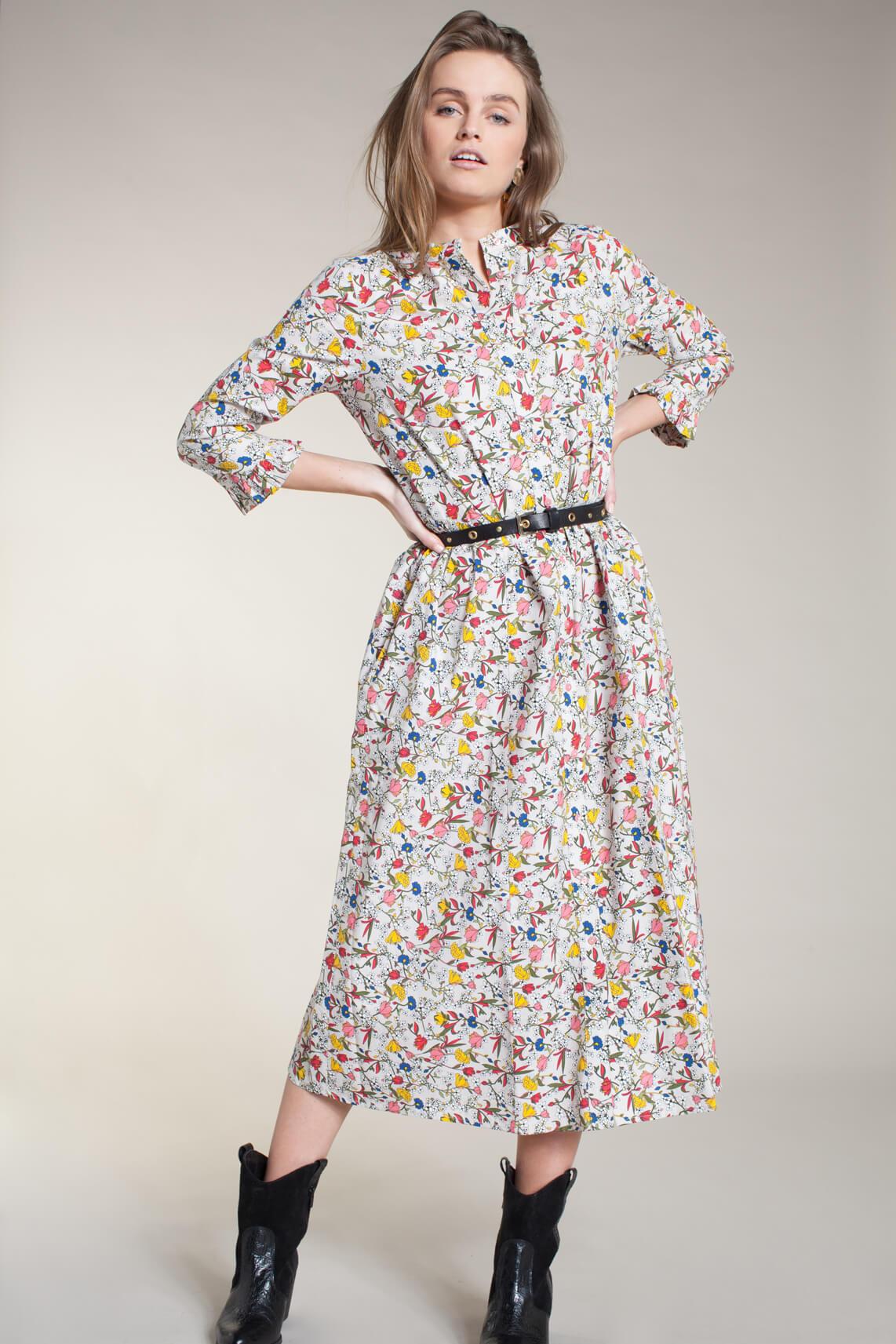 Lollys Laundry Dames Harper jurk met bloemen Ecru