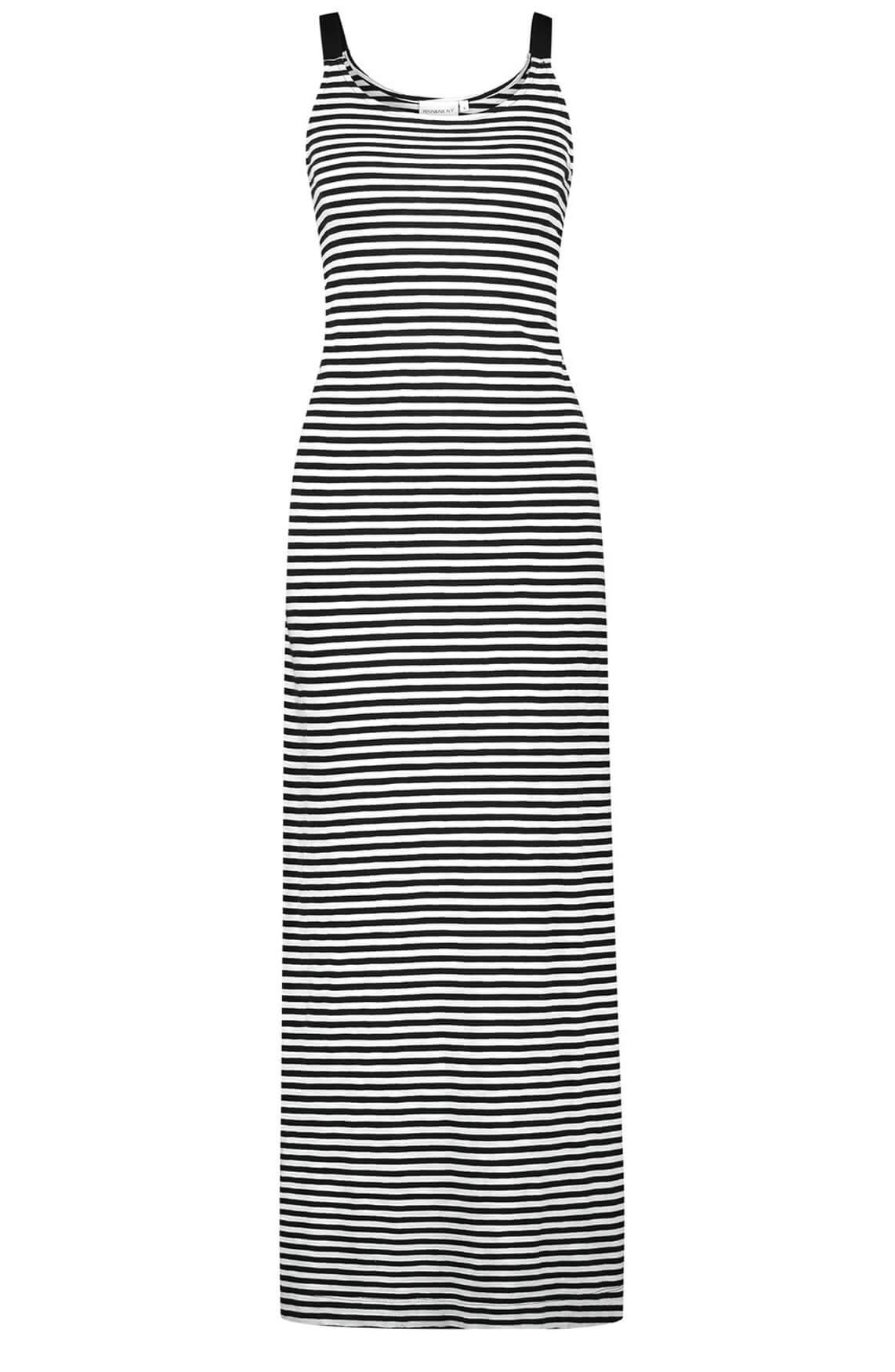 Penn & Ink Dames Gestreepte jurk zwart