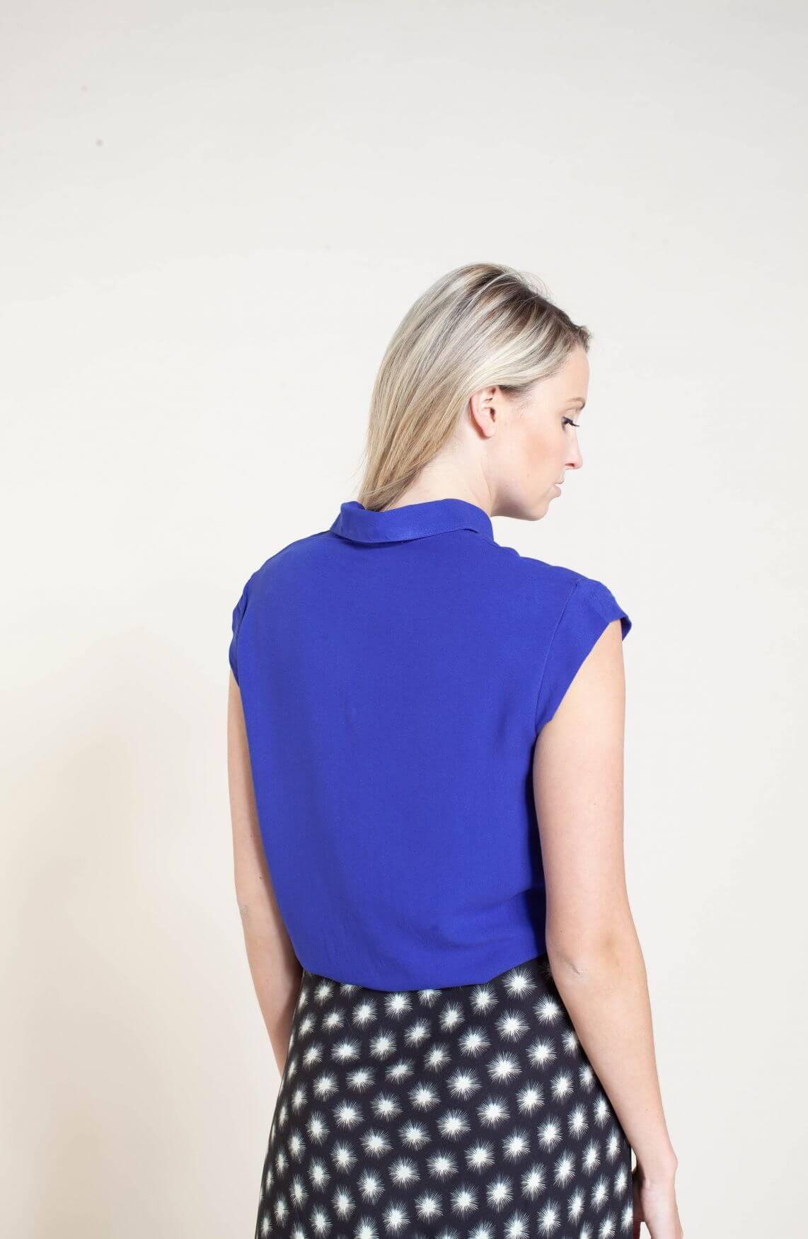 Penn & Ink Dames Blouse met korte mouw Blauw