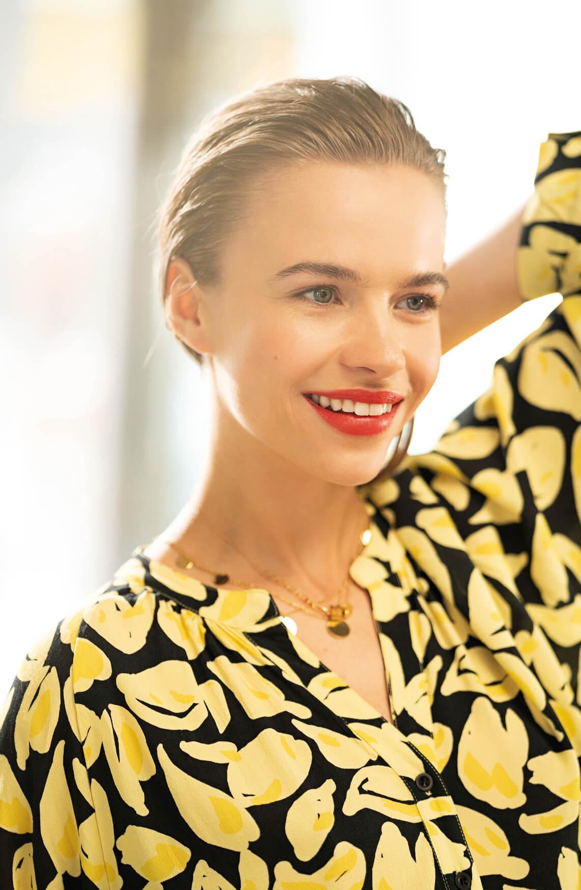 Anna Dames Blouse met citroenprint geel