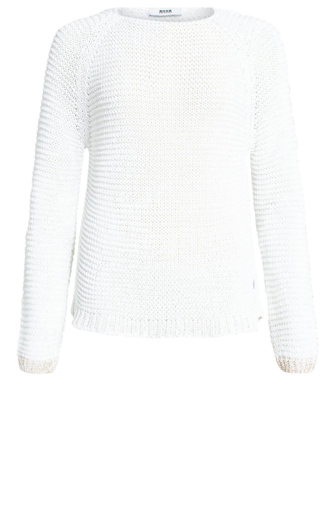 Anna Dames Pullover met lurex wit