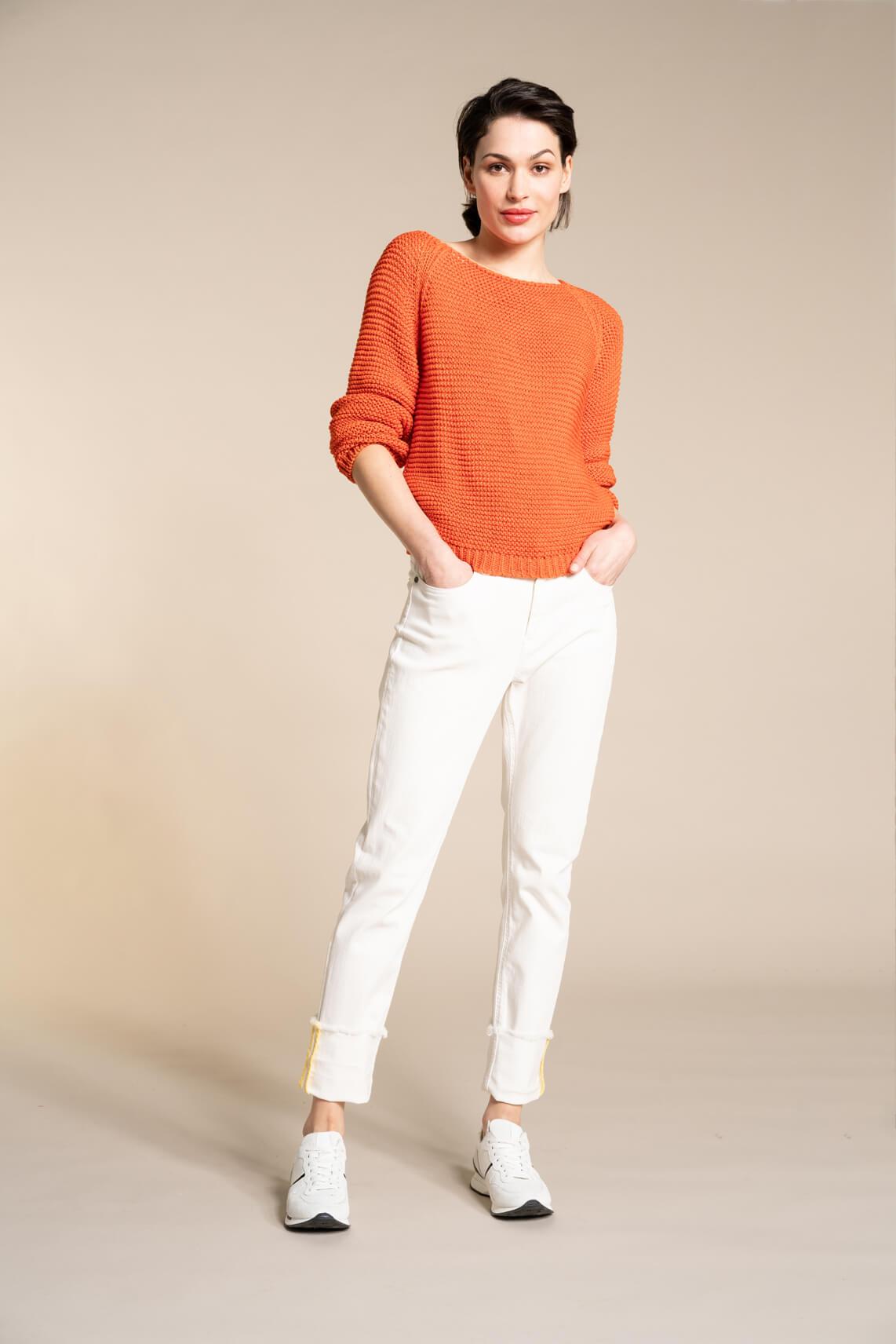 Anna Dames Pullover met lurex Oranje