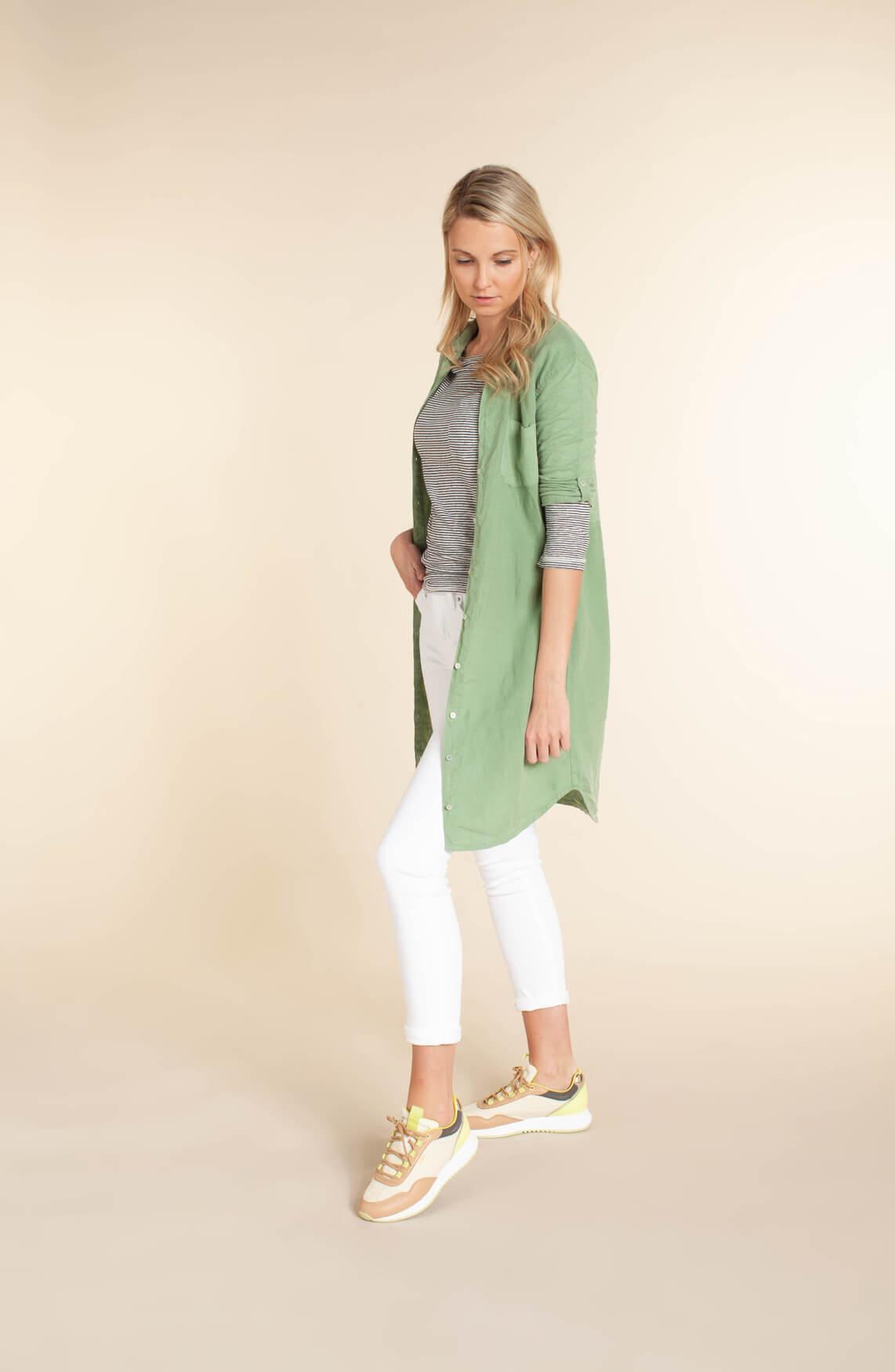 Anna Blue Dames Garment dye jurk groen