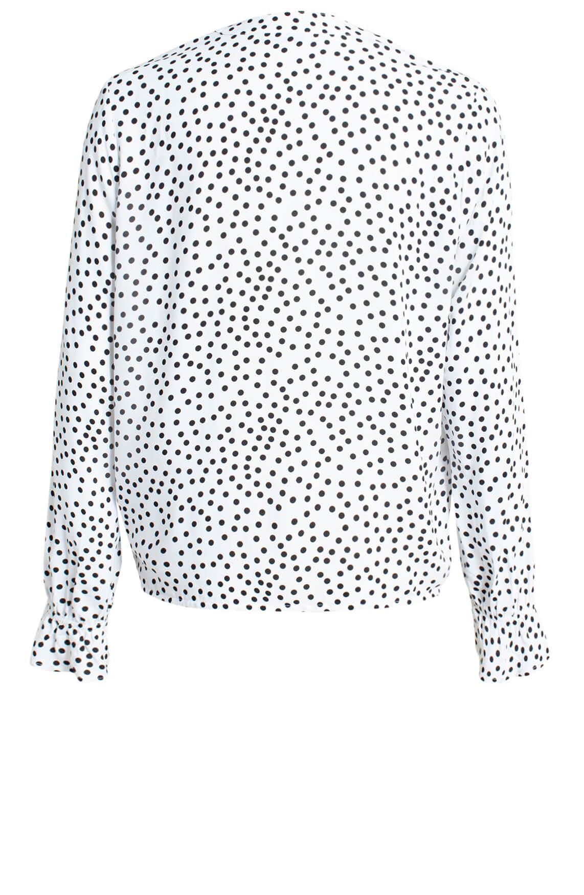 Anna Dames Gestippelde blouse wit