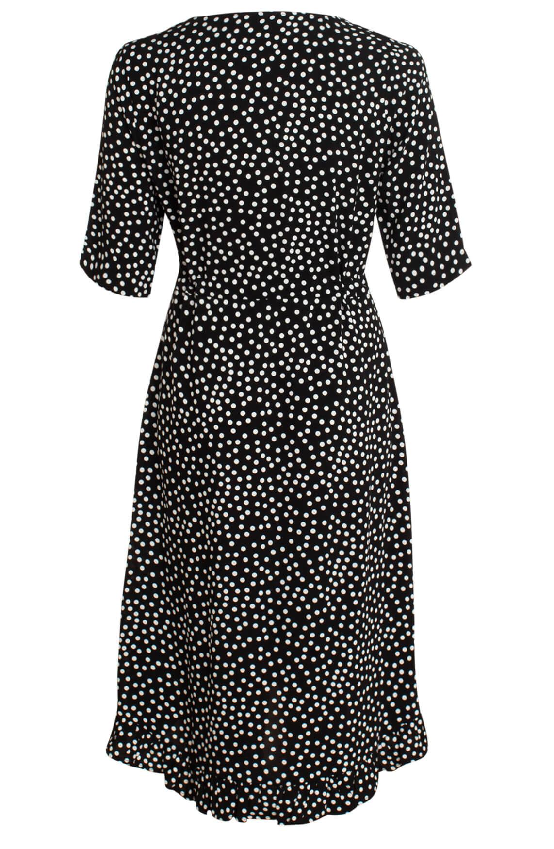 Anna Dames Gestippelde jurk zwart
