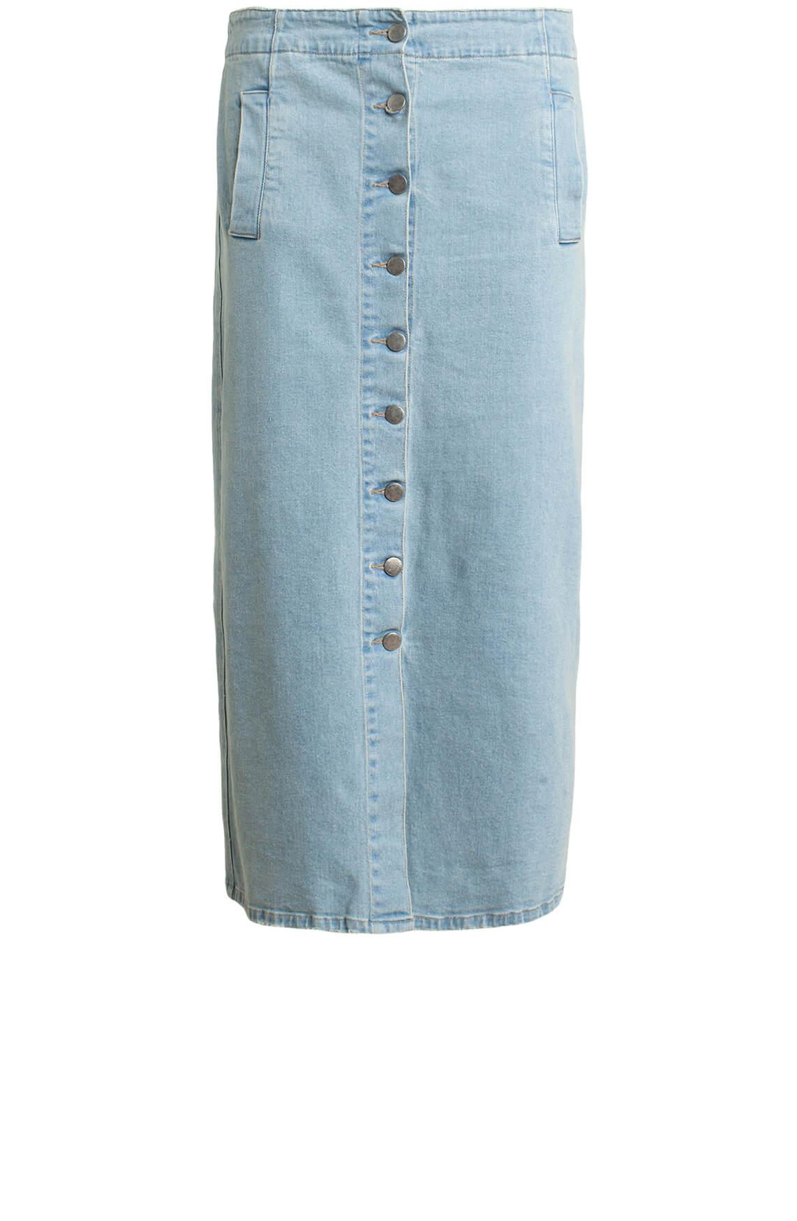 Anna Dames Midi jeansrok Blauw